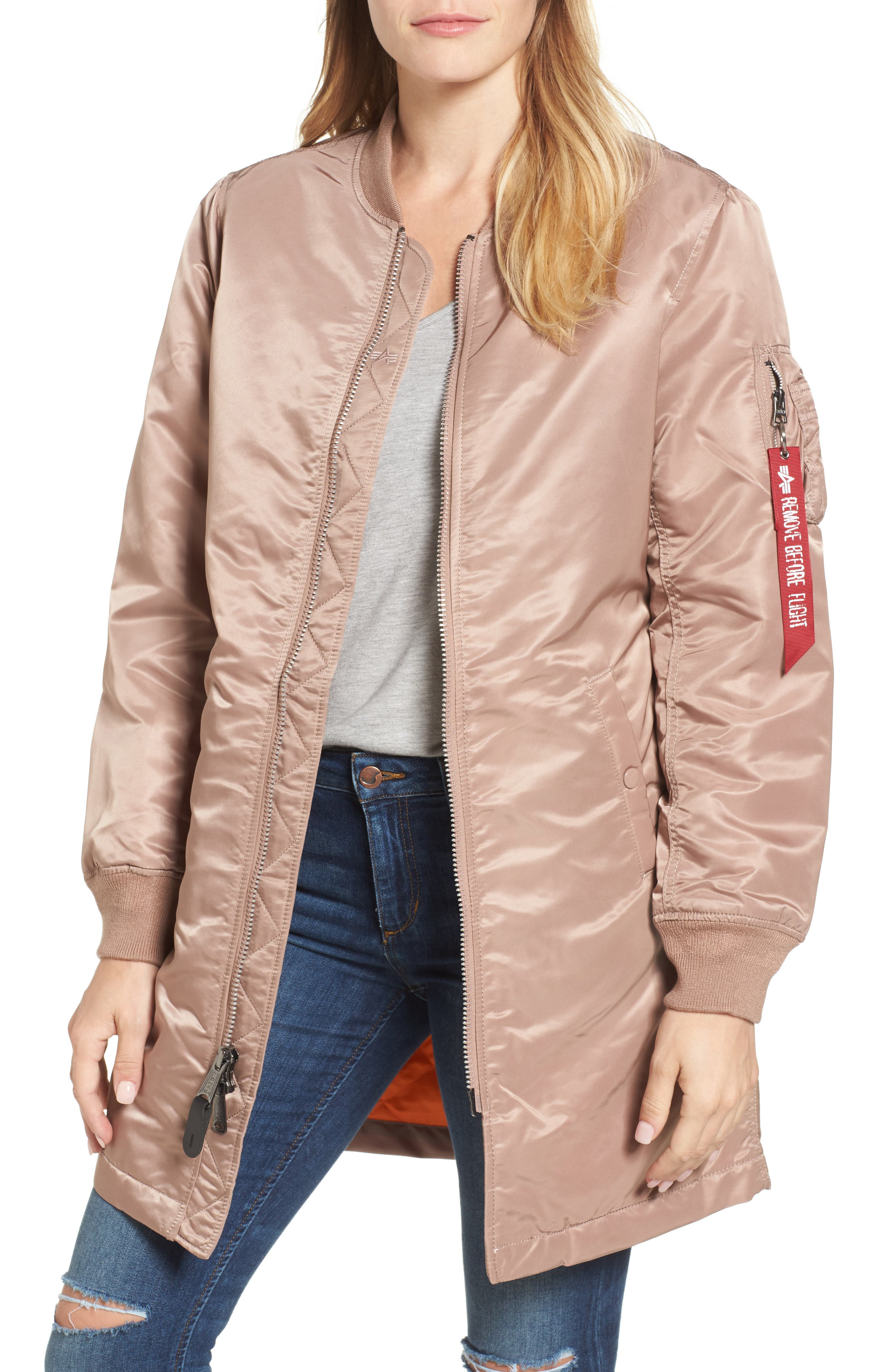 Water Resistant Long MA-1 Jacket,                         Main,                         color, Mauve
