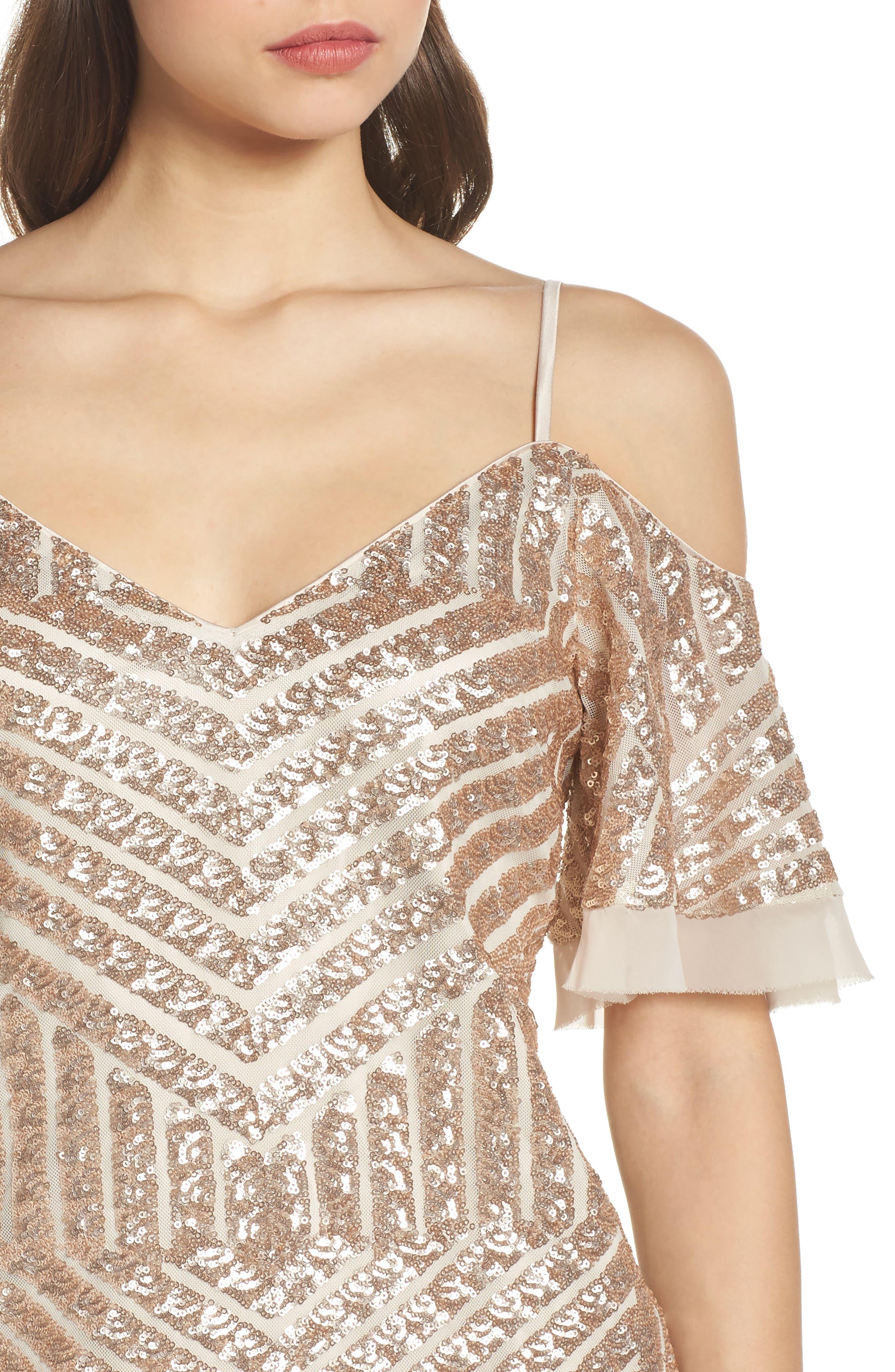 Sequin Cold Shoulder Dress,                             Alternate thumbnail 4, color,                             Champagne