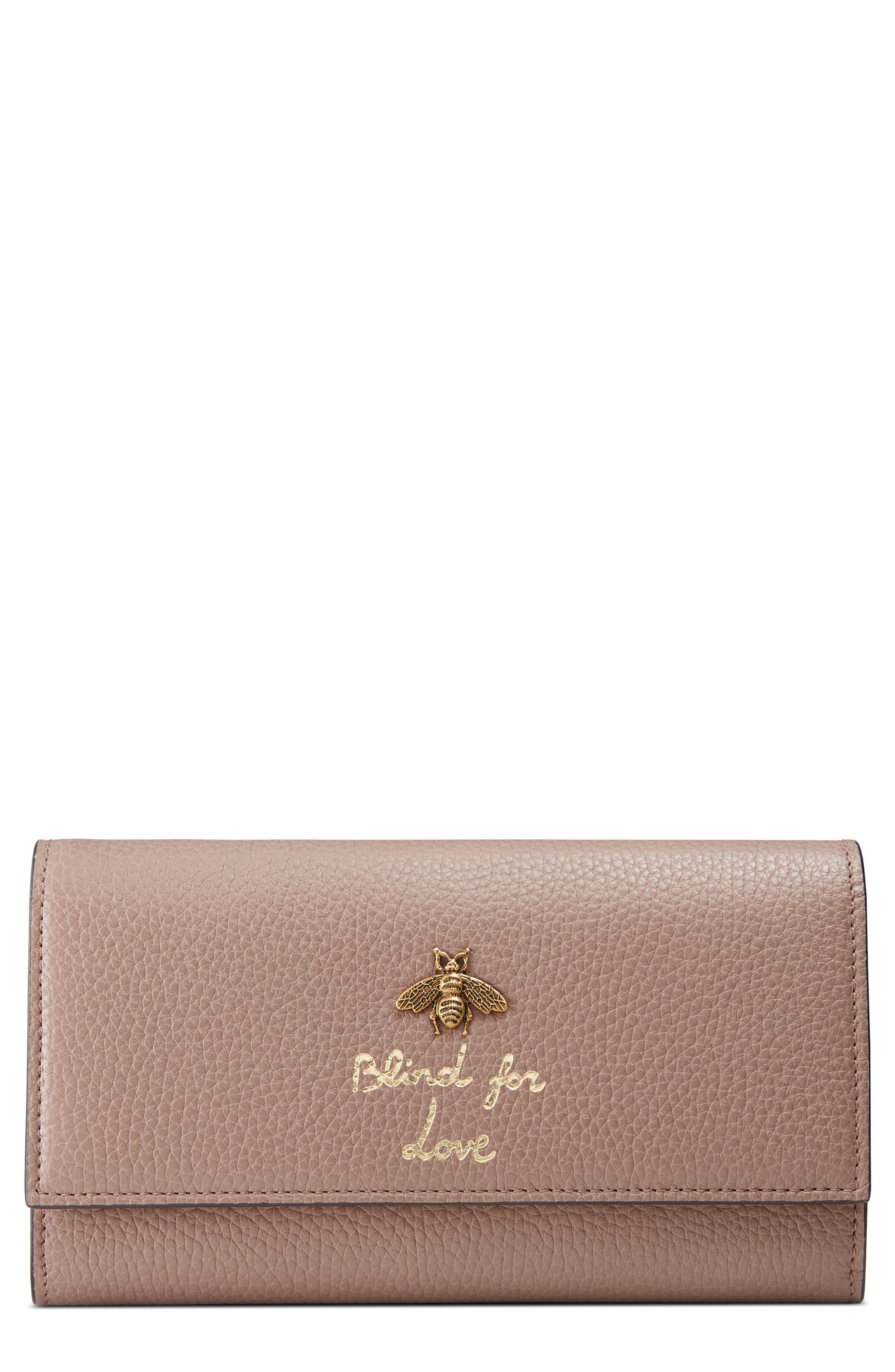 Animalier Bee Leather Continental Wallet,                             Main thumbnail 1, color,                             Porcelain Rose