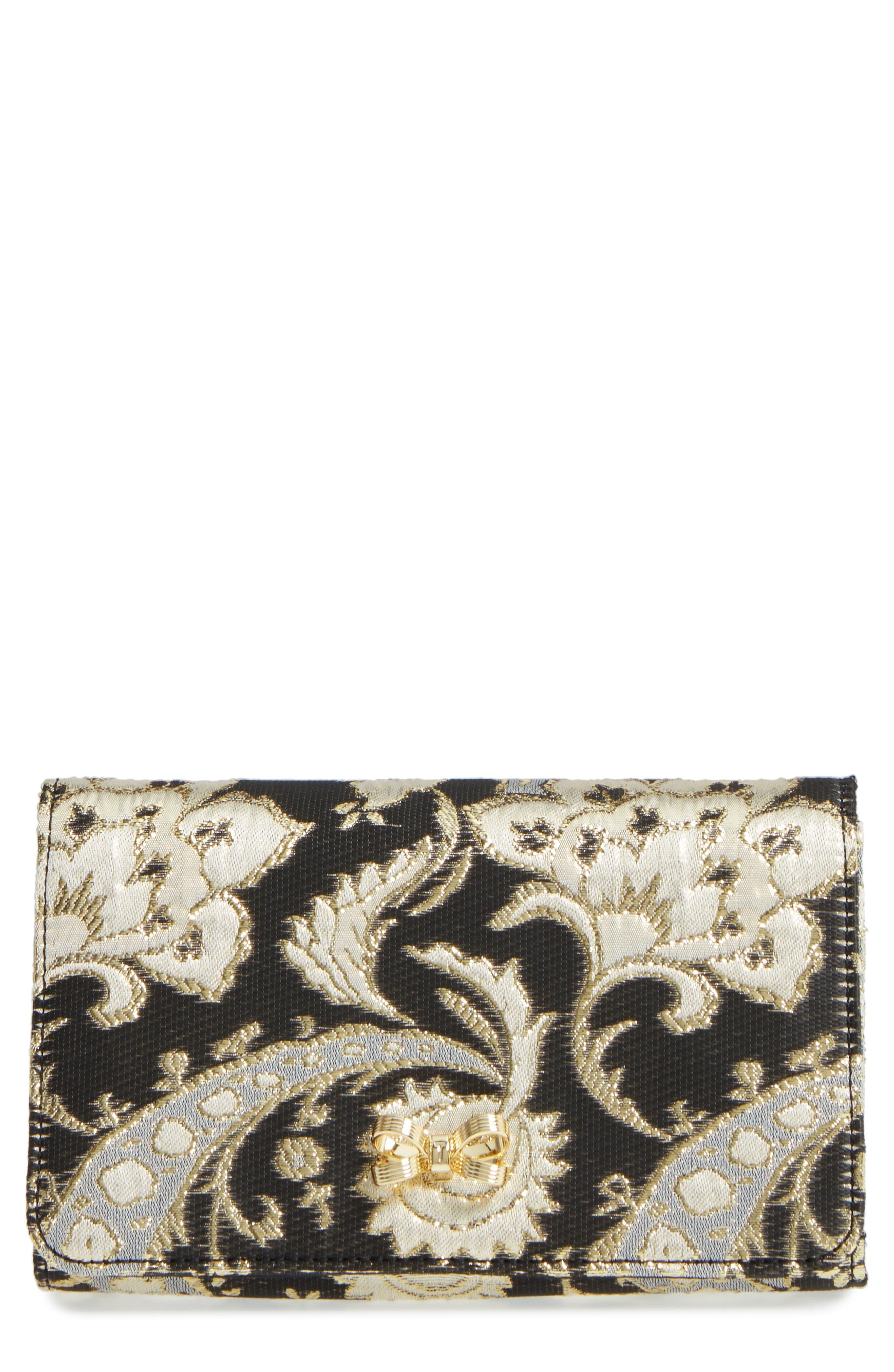 Paisley Bow Clutch,                         Main,                         color, Black