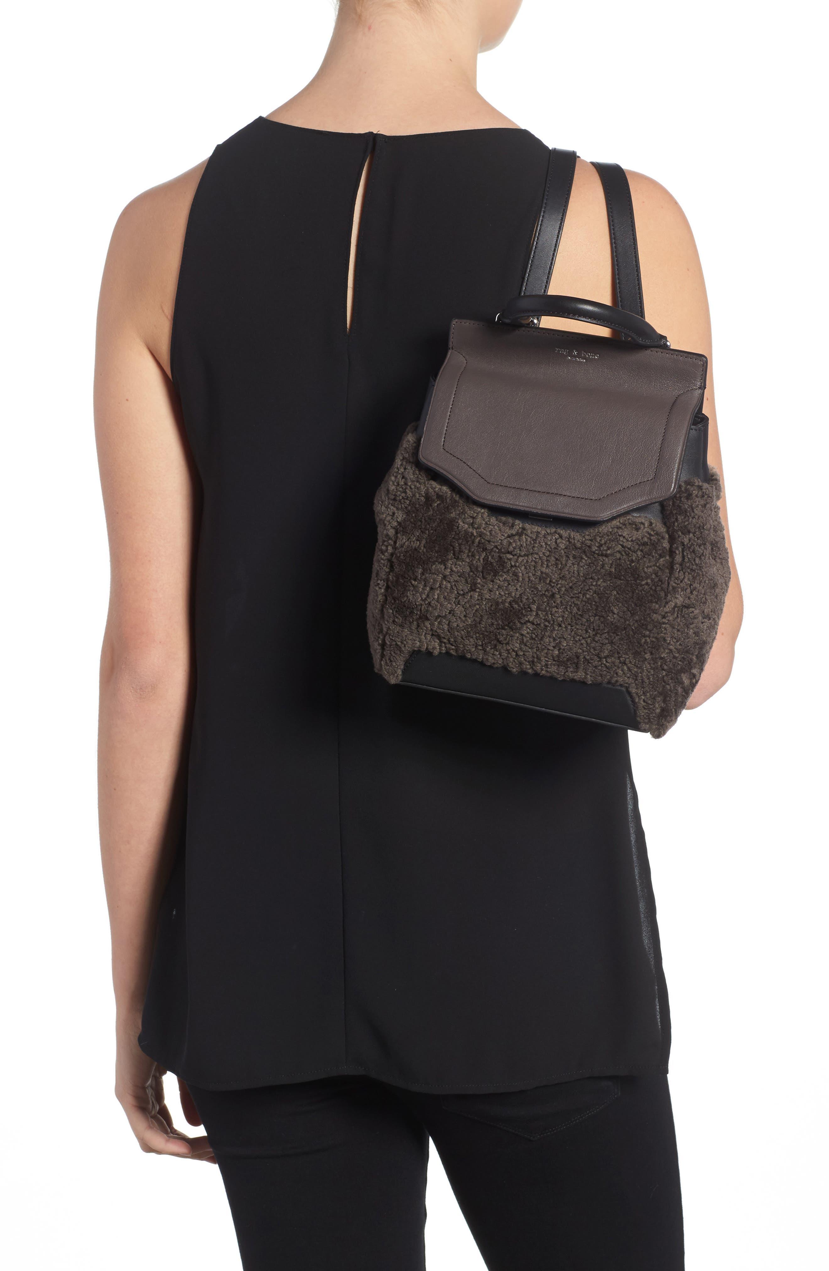 Small Pilot Leather & Genuine Shearling Backpack,                             Alternate thumbnail 2, color,                             Granite Shearling