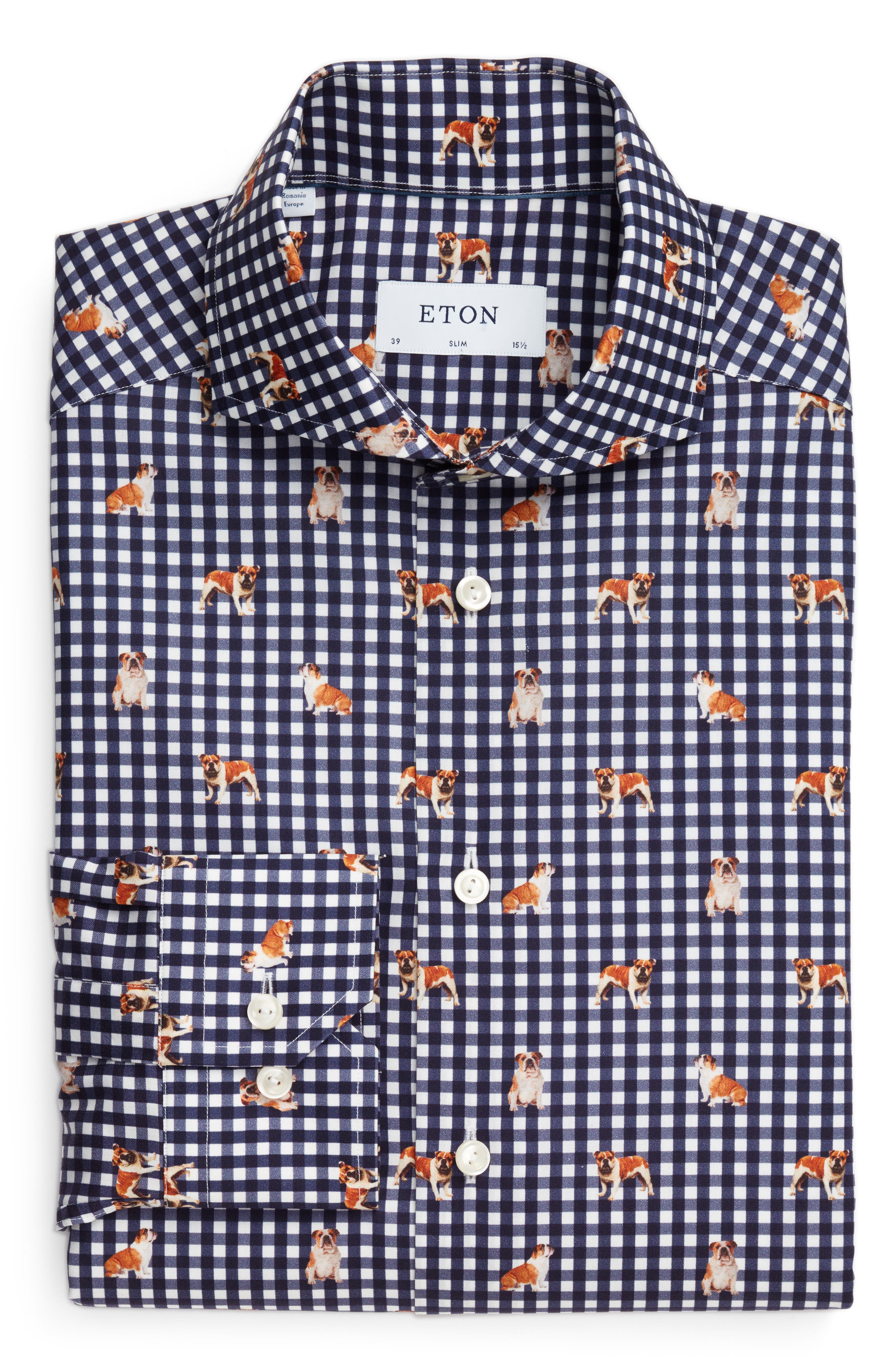Main Image - Eton Slim Fit Print Dress Shirt