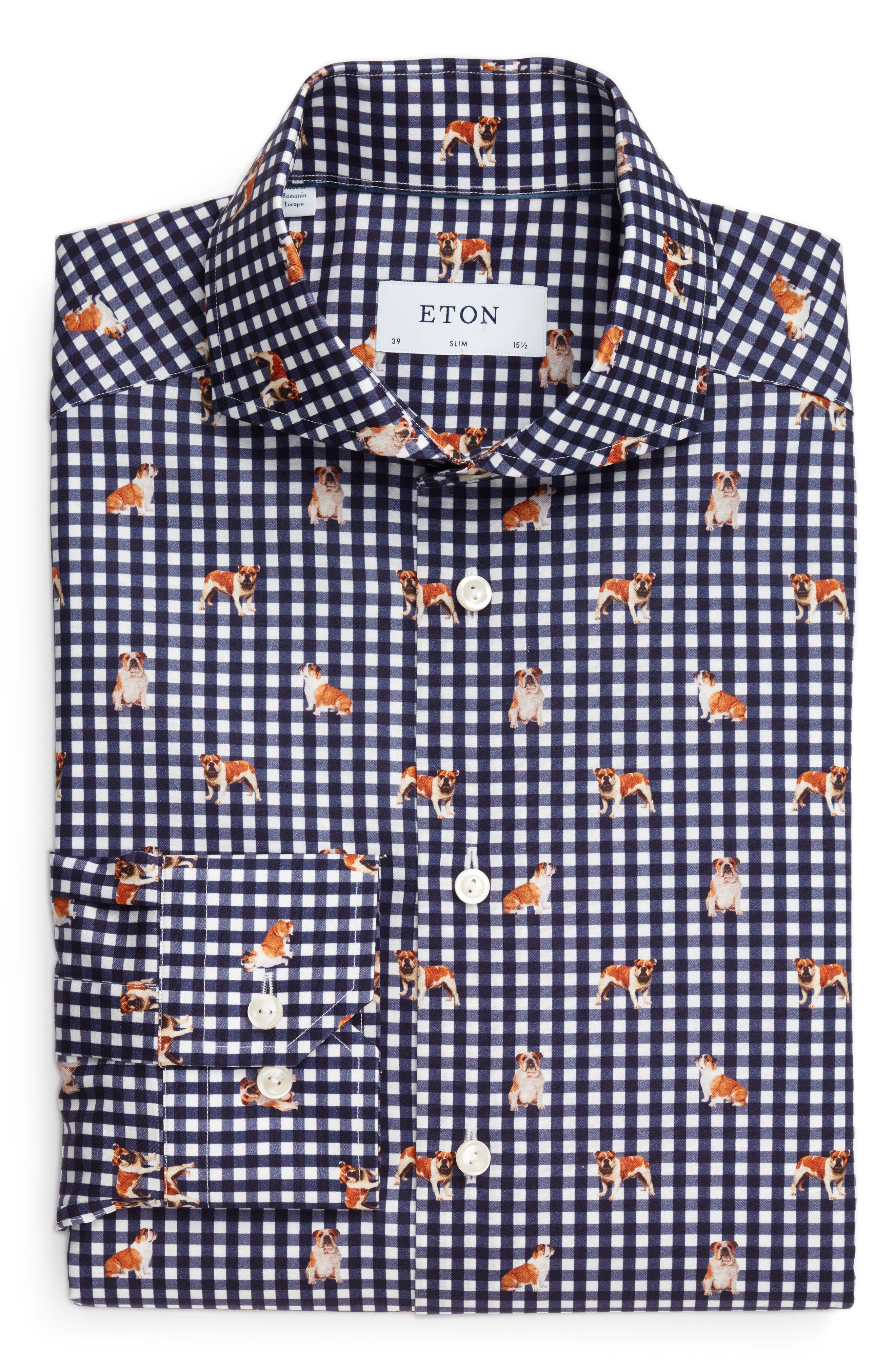 Slim Fit Print Dress Shirt,                         Main,                         color, Navy