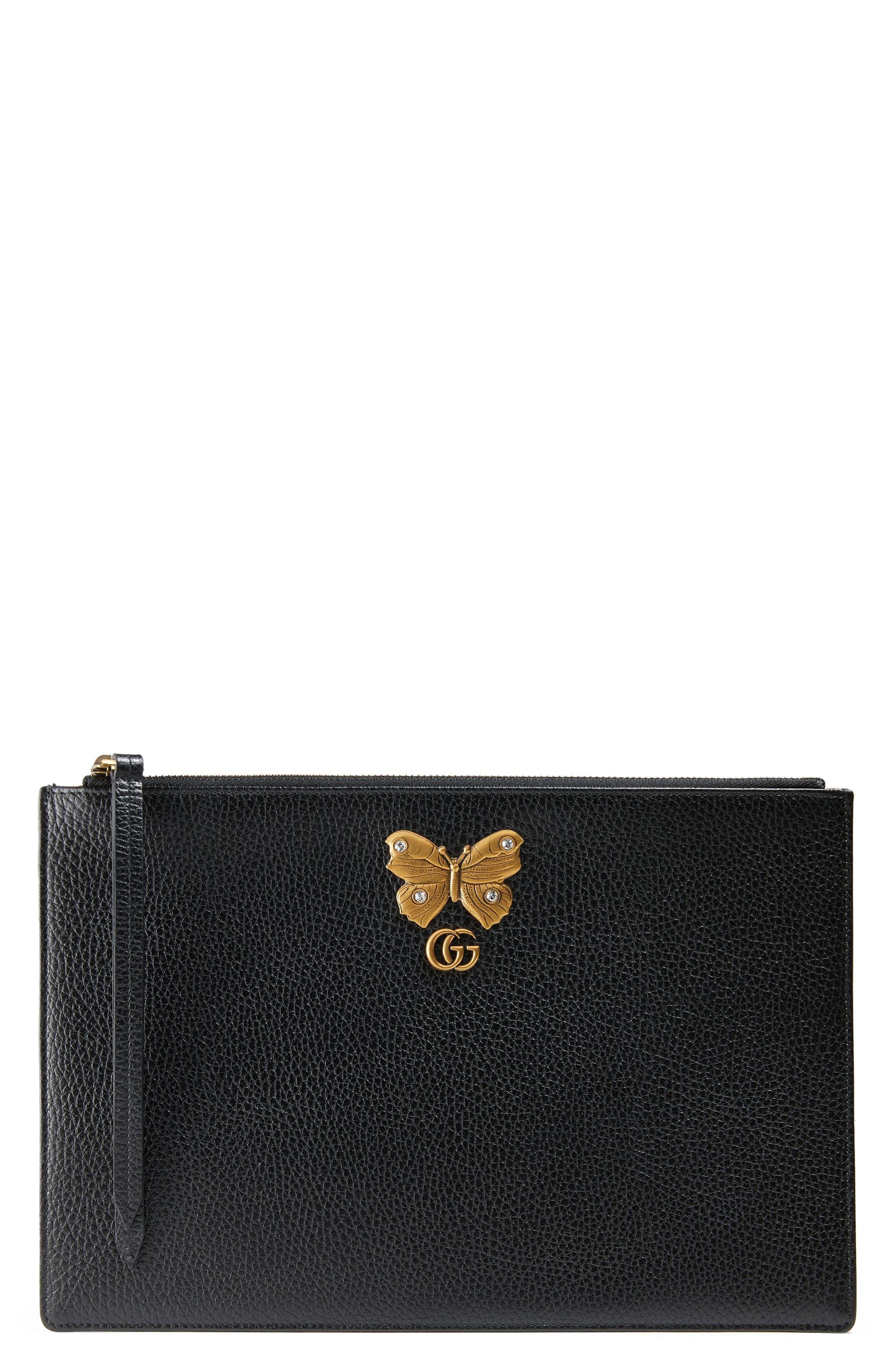 Alternate Image 1 Selected - Gucci Linea Farfalla Leather Pouch