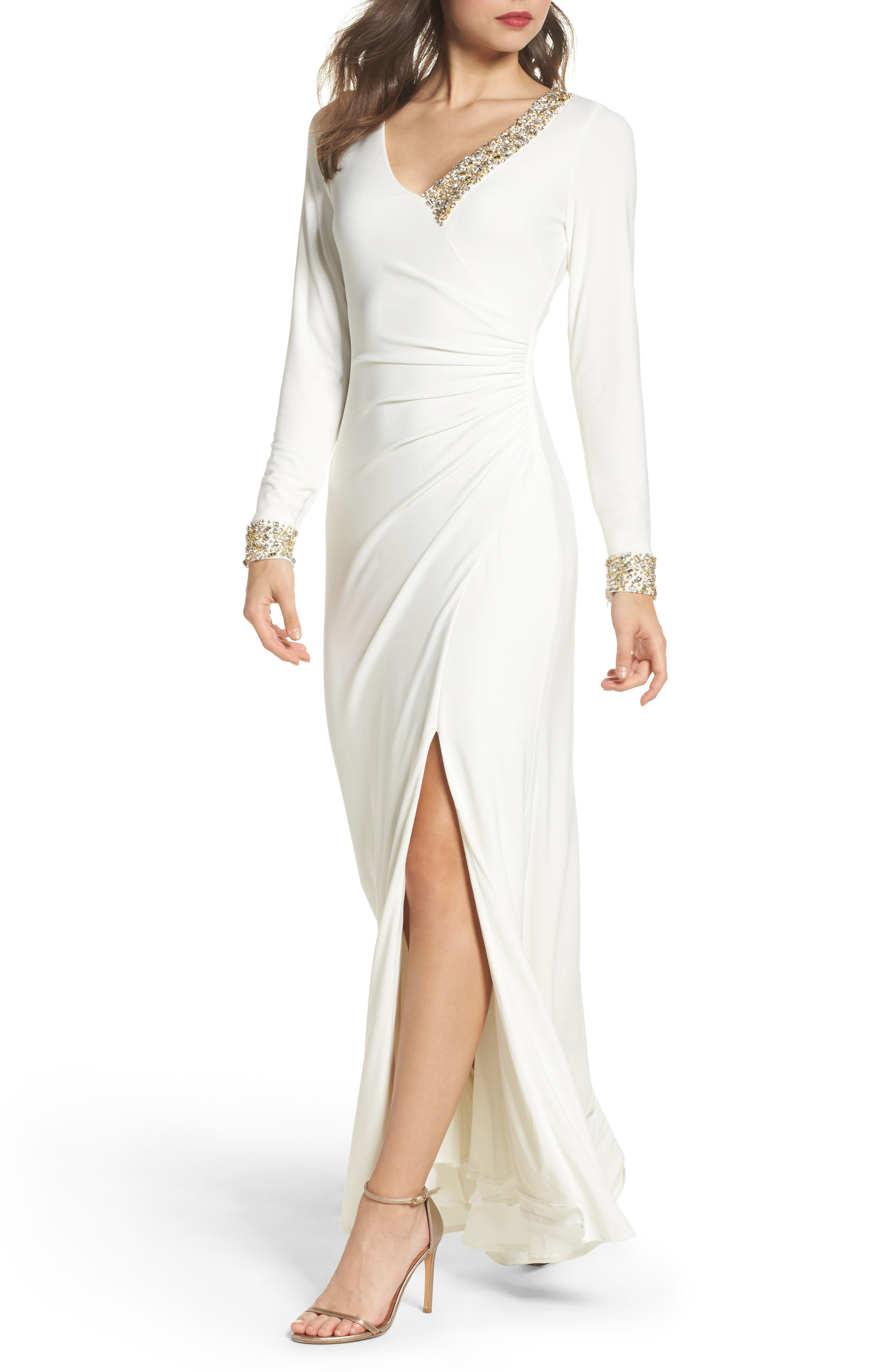 Embellished Side Tuck Jersey Gown,                             Main thumbnail 1, color,                             Ivory