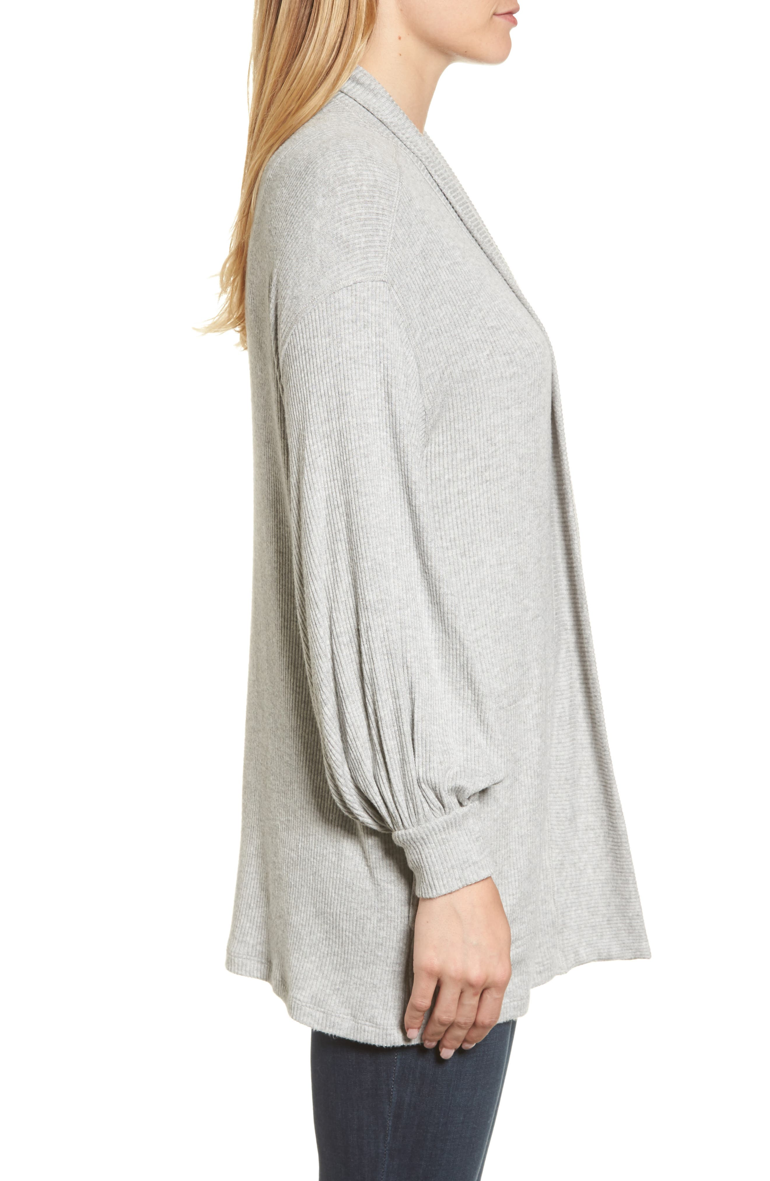 Ribbed Blouson Sleeve Cardigan,                             Alternate thumbnail 3, color,                             Heather Grey