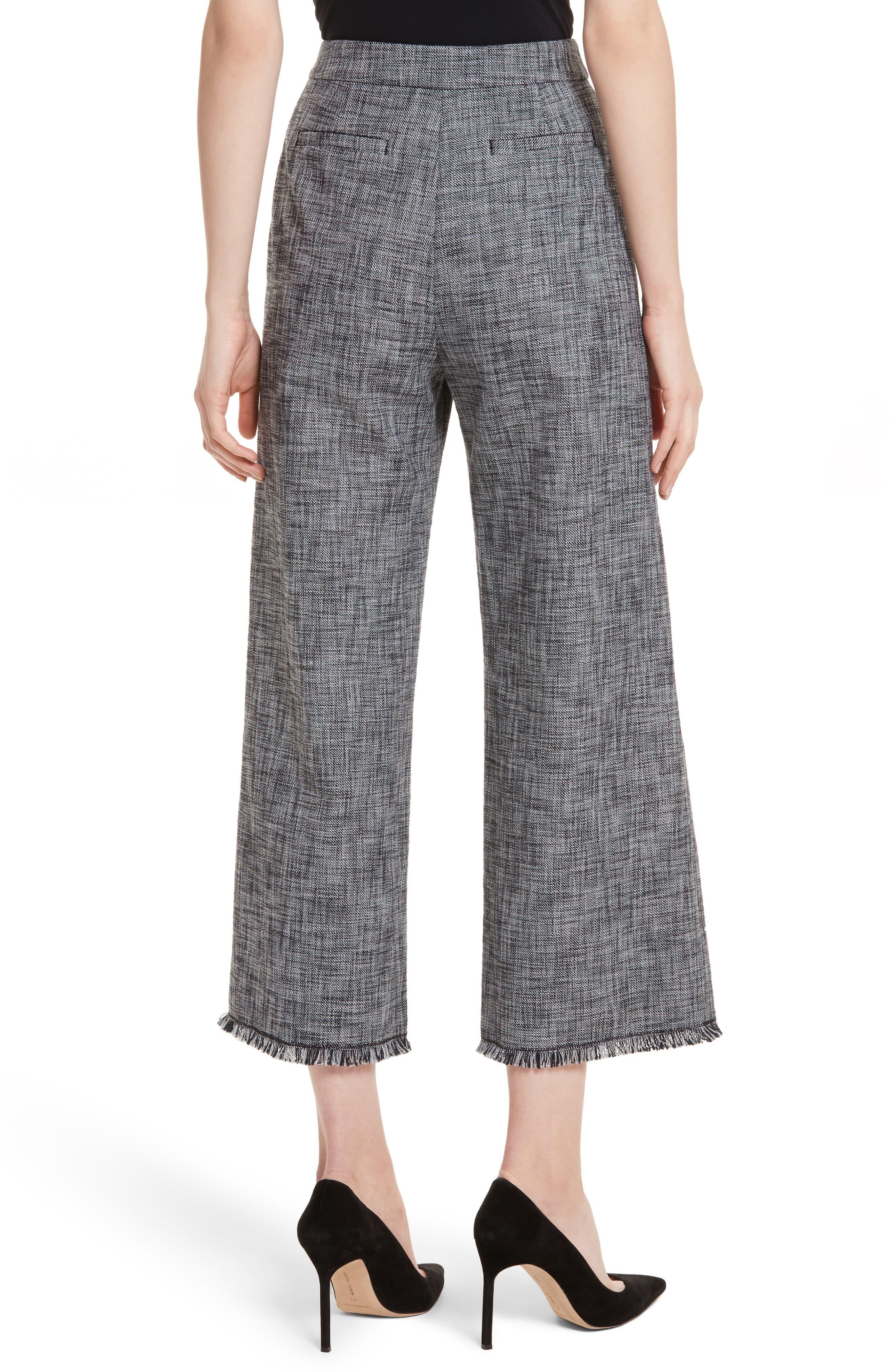 Slub Crop Suit Pants,                             Alternate thumbnail 2, color,                             Grey/ Black Combo