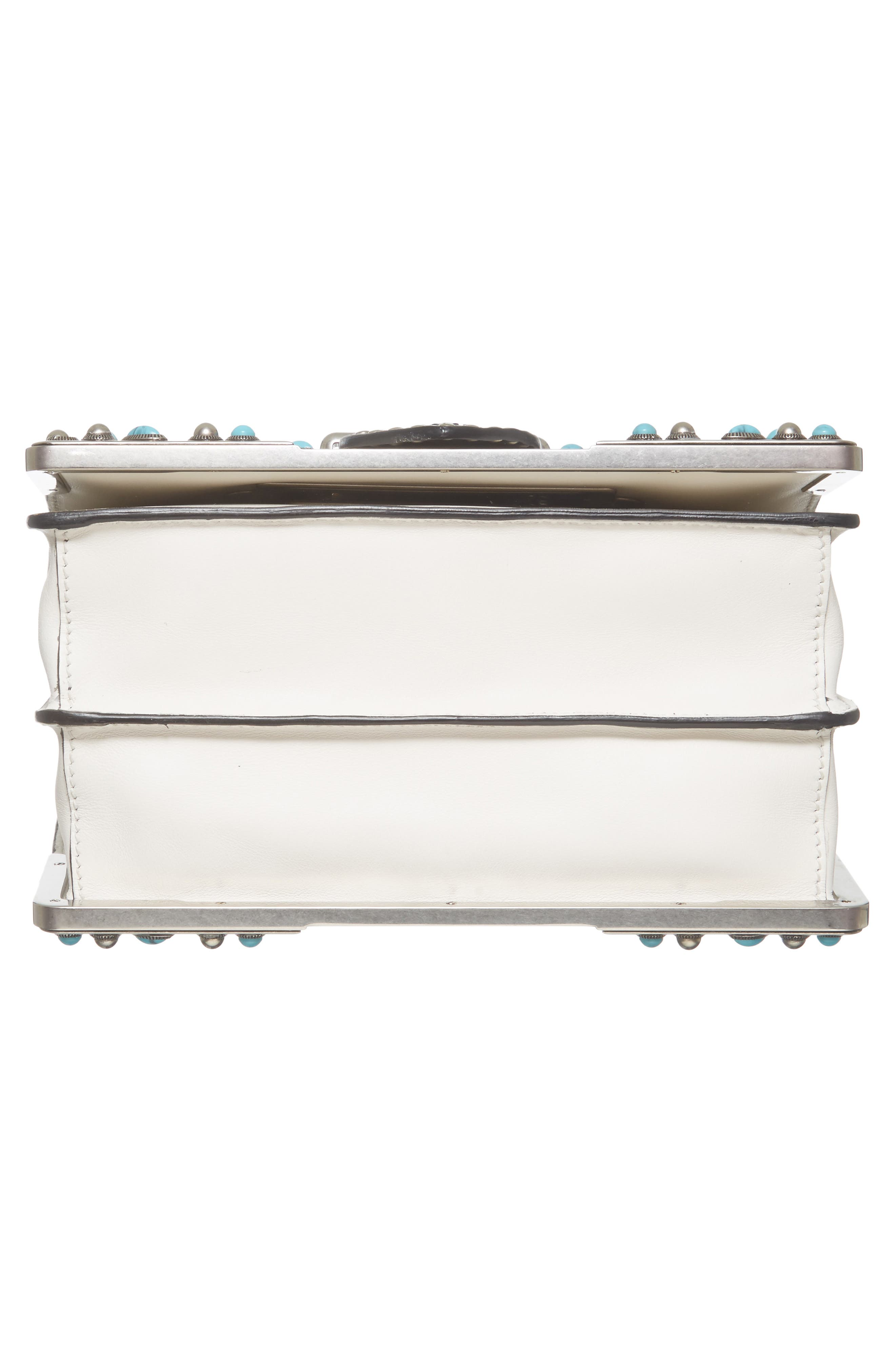 Cahier City Calfskin Shoulder Bag,                             Alternate thumbnail 6, color,                             Bianco/ Nero
