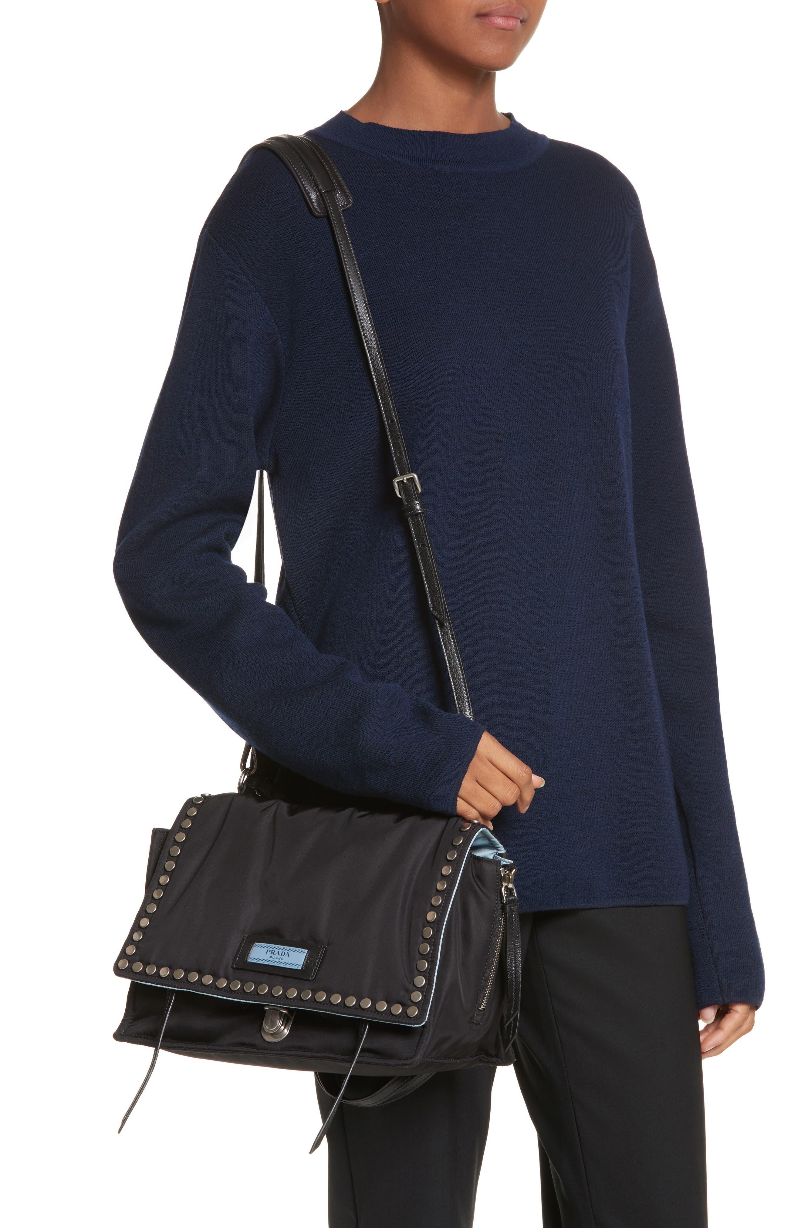 Medium Etiquette Tessuto Bag,                             Alternate thumbnail 2, color,                             Nero/ Astrale