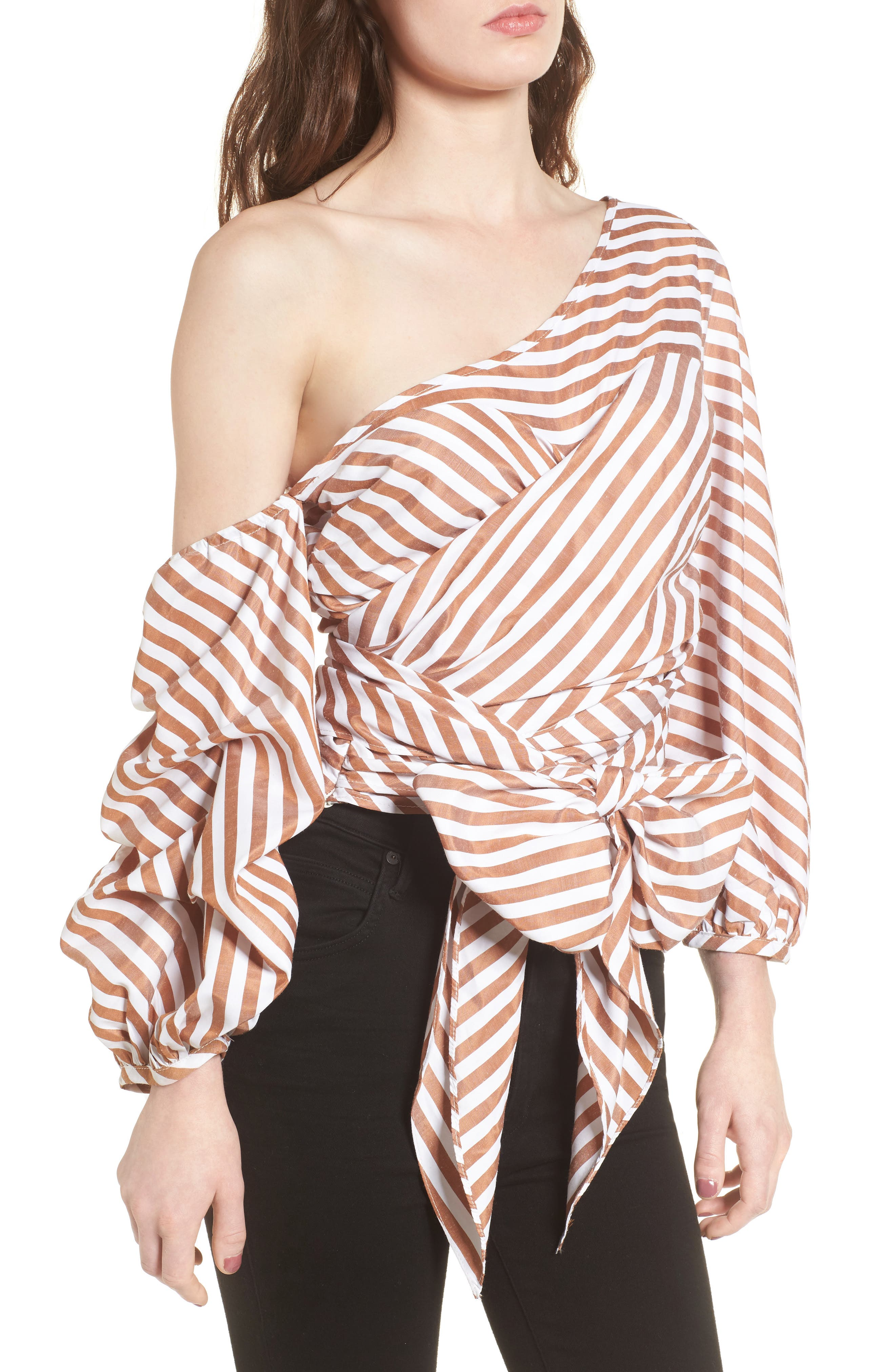 Wrap Me in Love One-Shoulder Top,                             Main thumbnail 1, color,                             Striped Brown