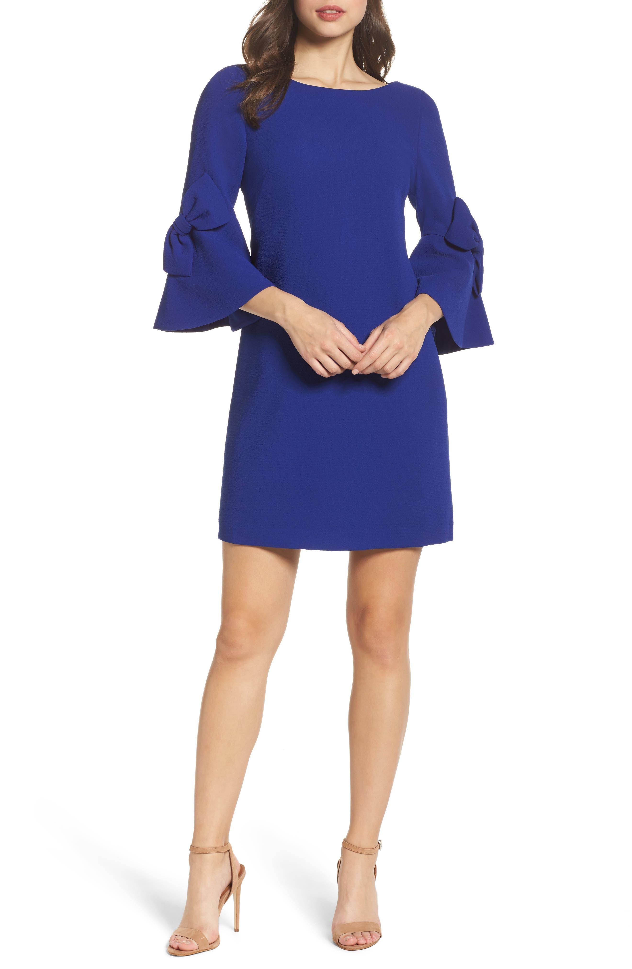 Bell Sleeve Shift Dress,                         Main,                         color, Cobalt