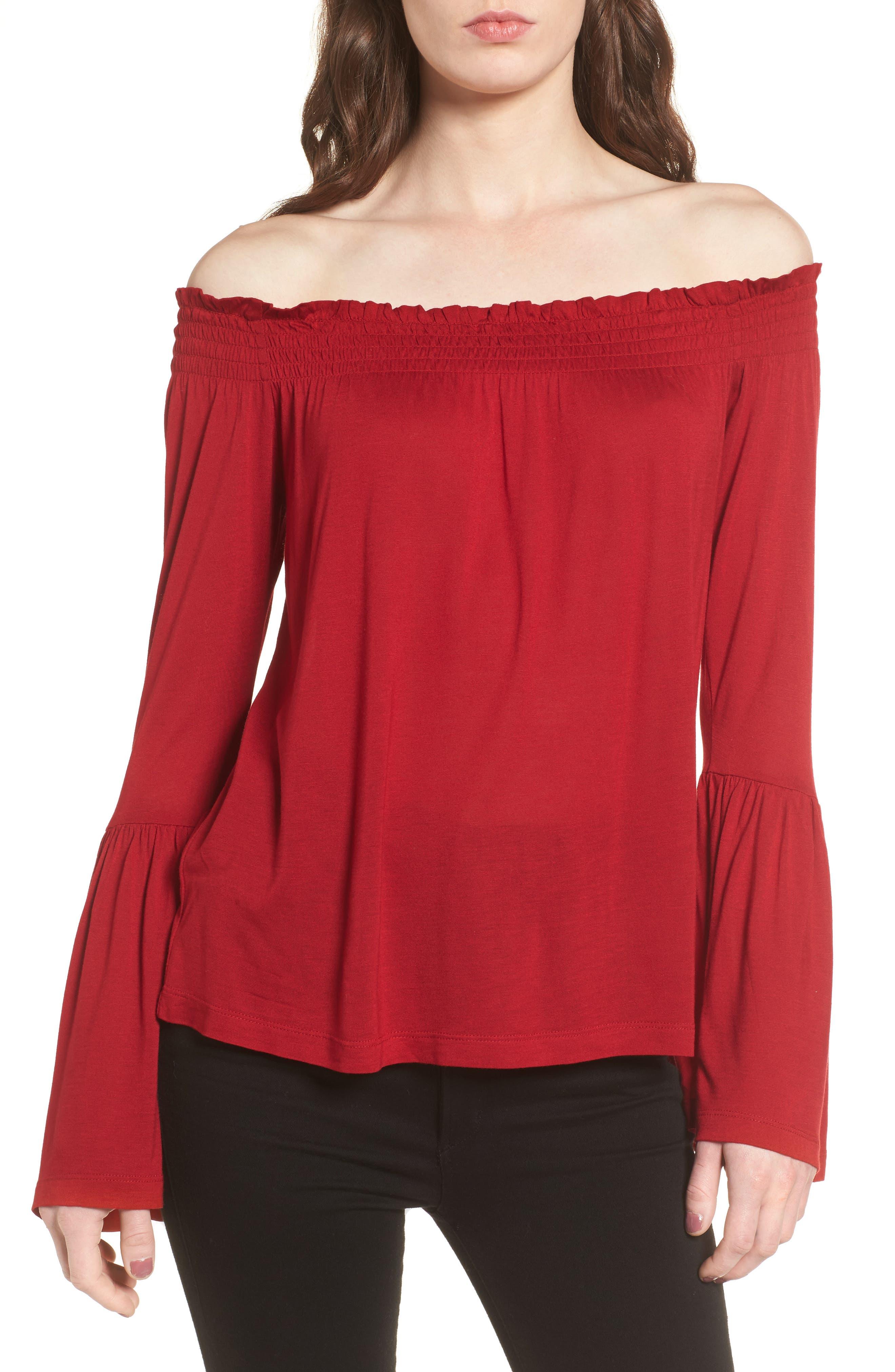 Luck Off the Shoulder Top,                         Main,                         color, Crimson