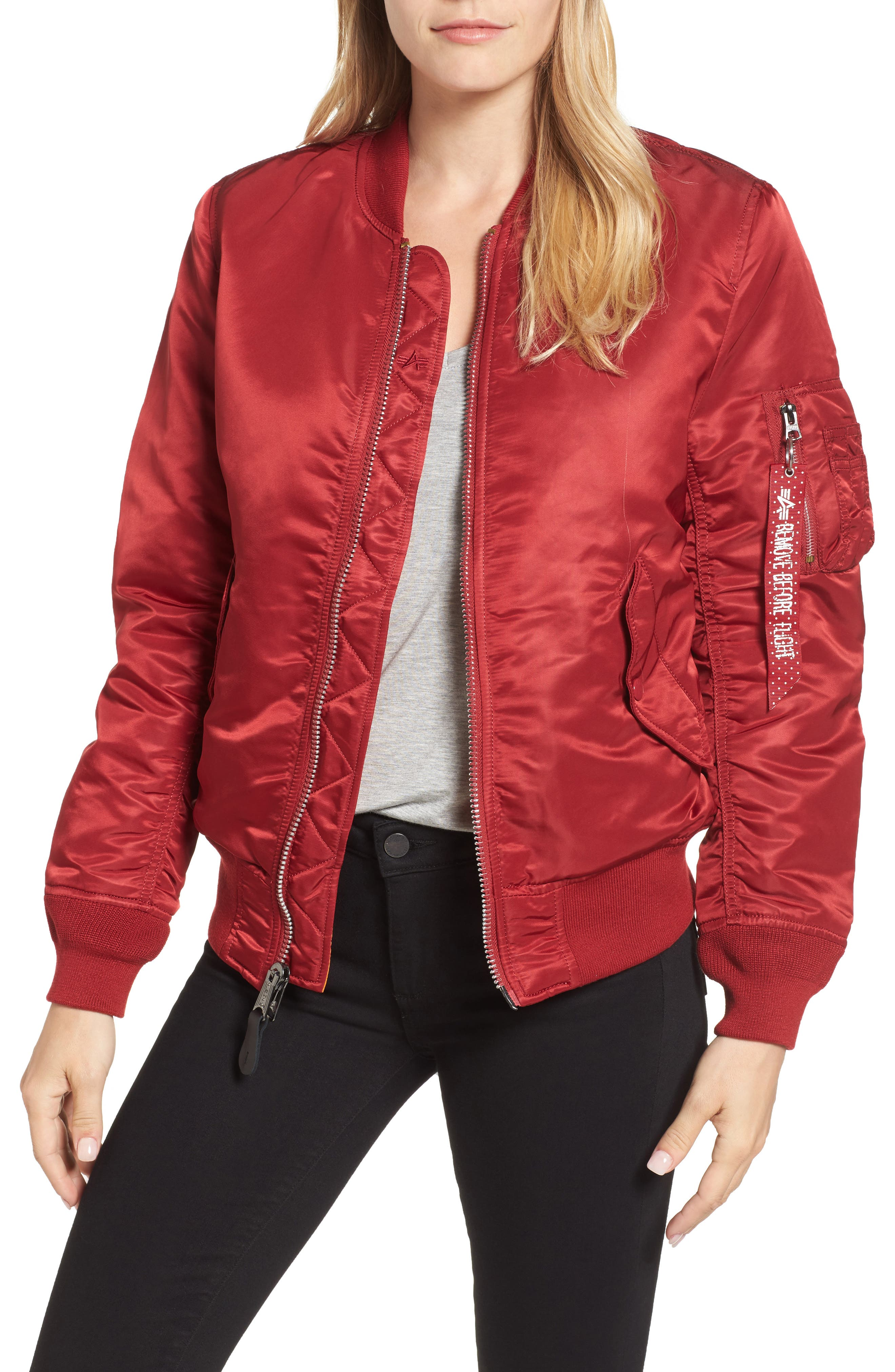 MA-1 W Bomber Jacket,                         Main,                         color, Commander Red