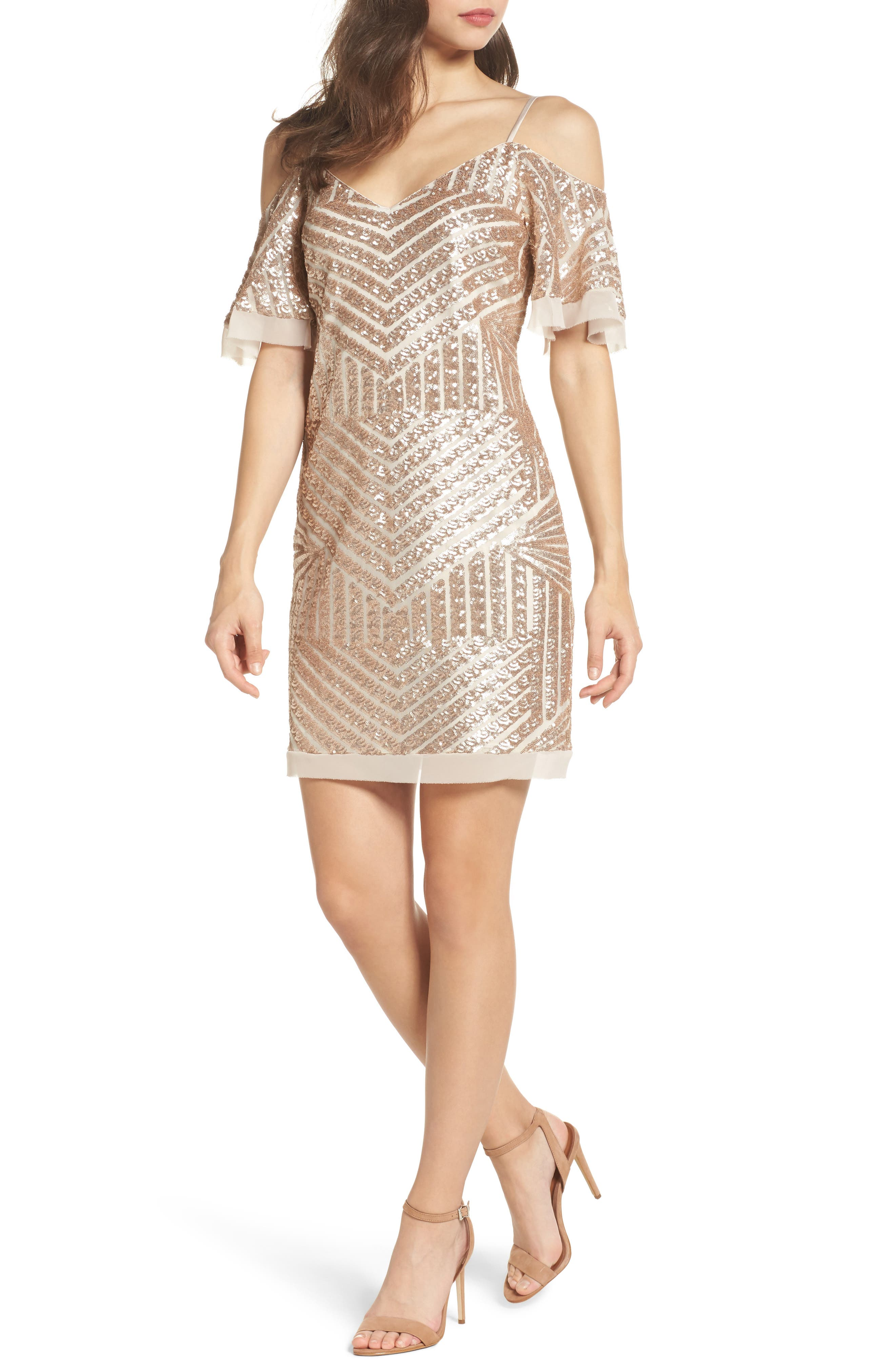Sequin Cold Shoulder Dress,                             Main thumbnail 1, color,                             Champagne