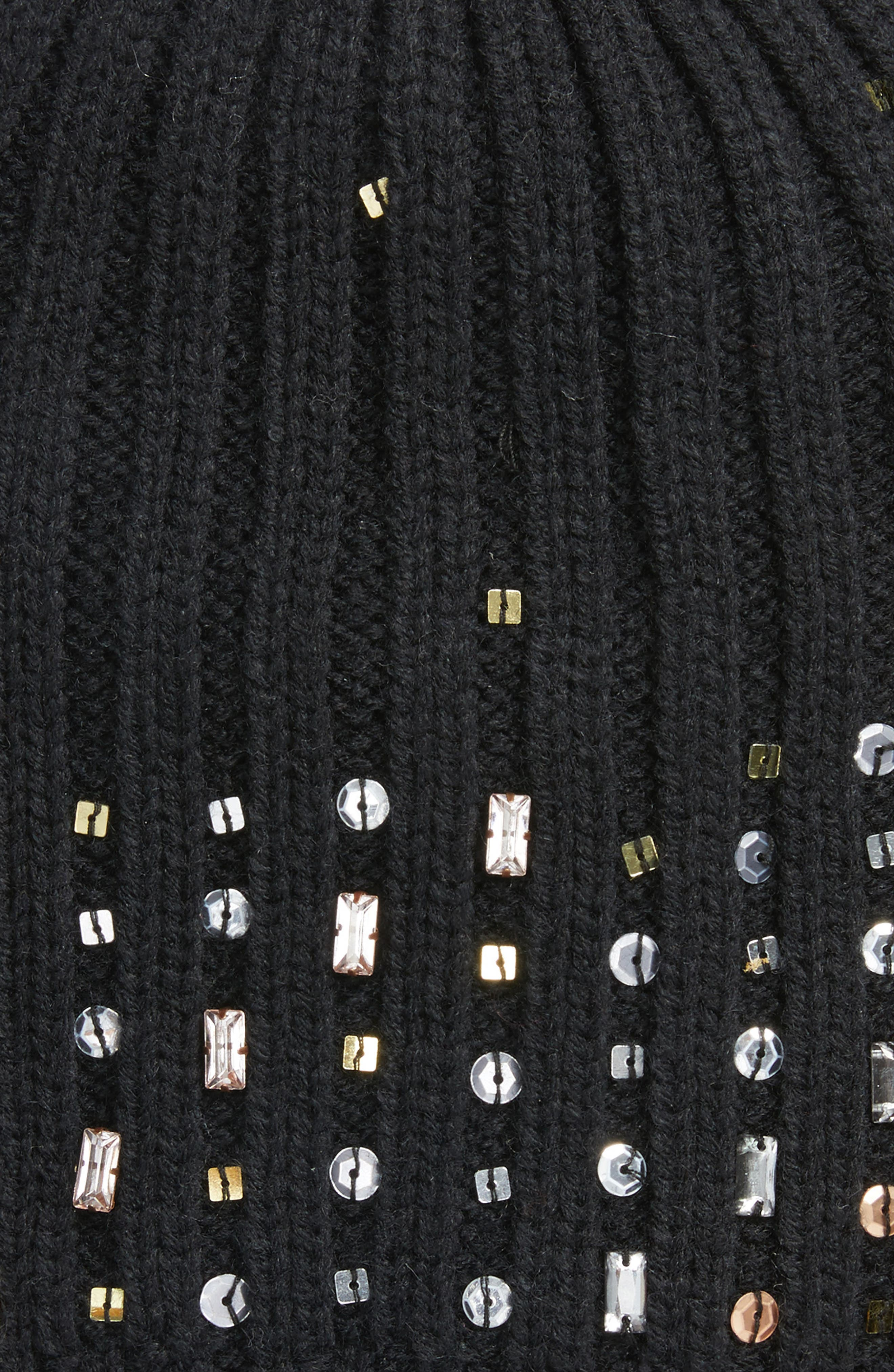 Embellished Beanie,                             Alternate thumbnail 2, color,                             Black