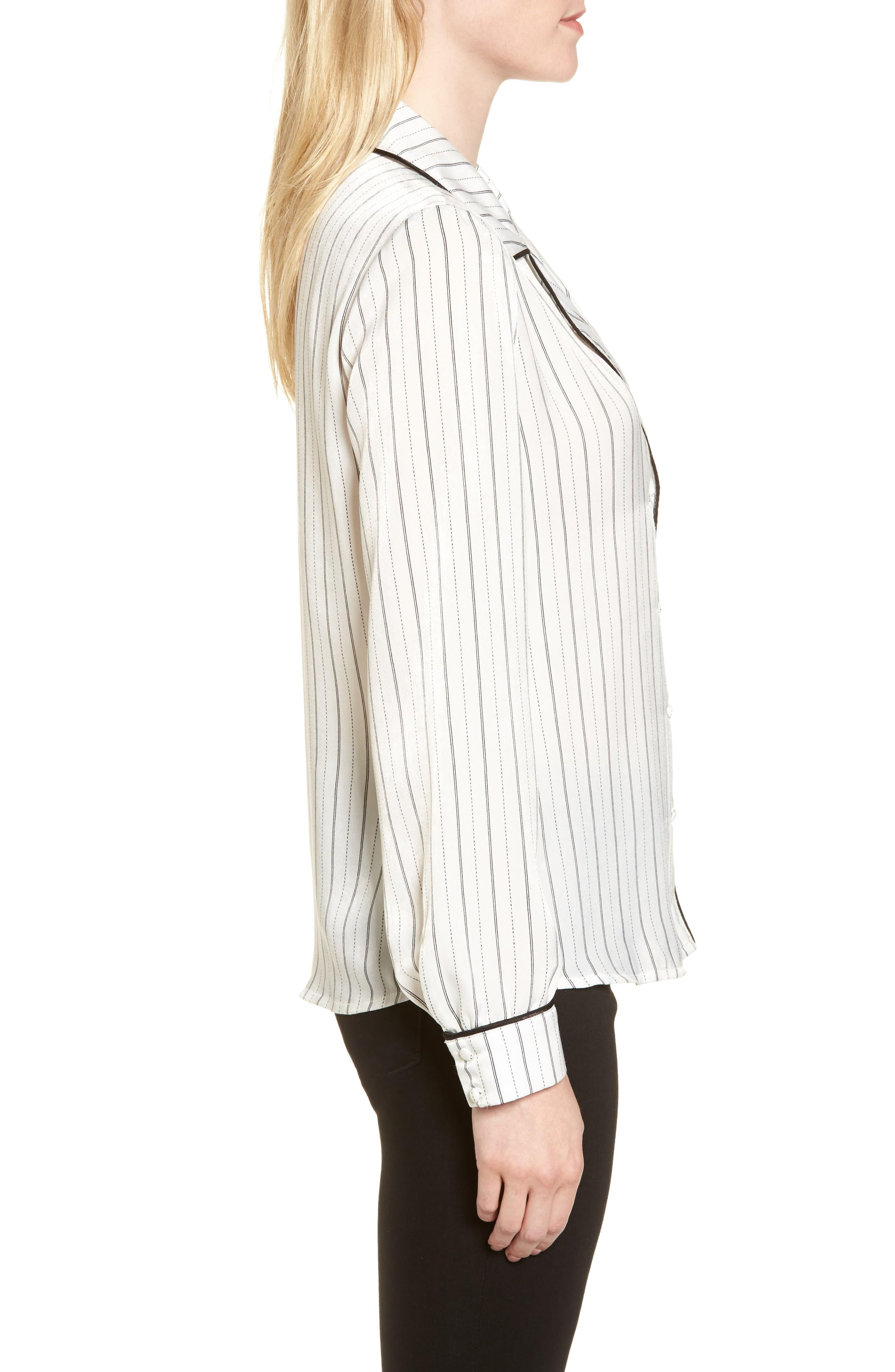 Double Breasted Pajama Top,                             Alternate thumbnail 3, color,                             Stripe