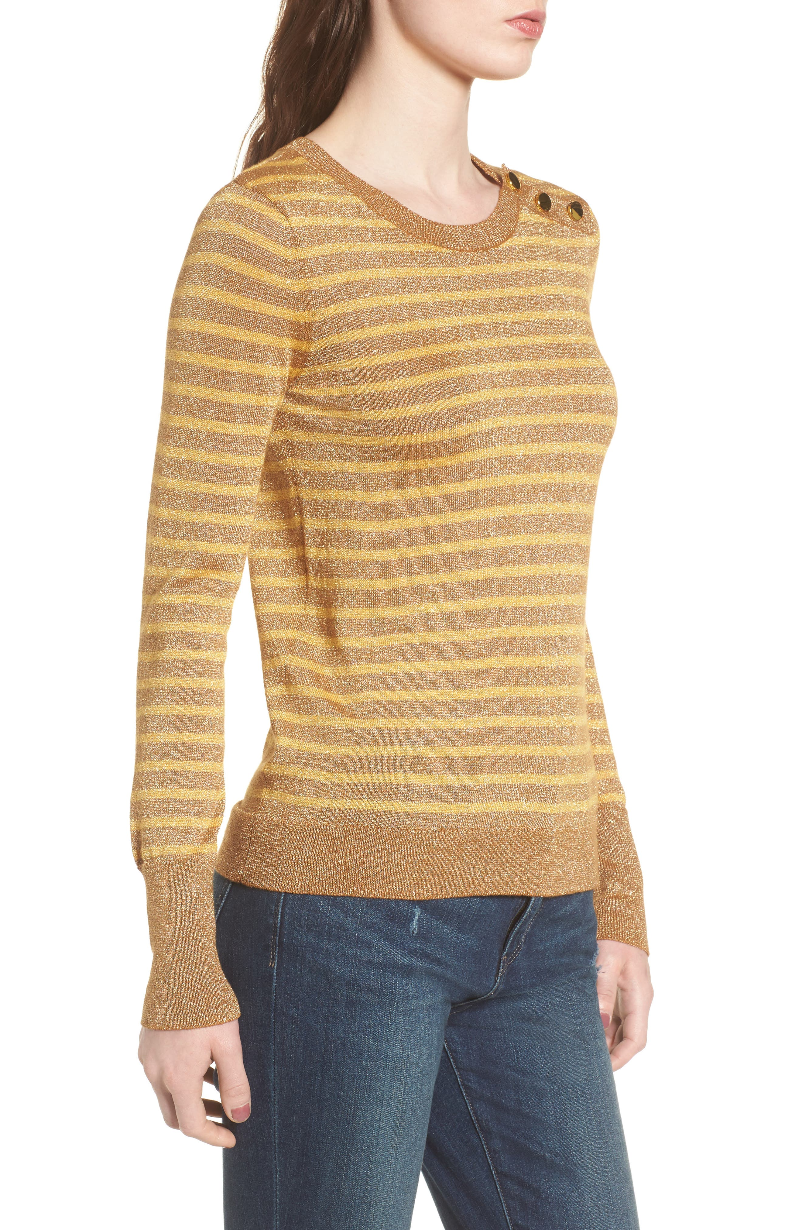 Sparkle Stripe Sweater,                             Alternate thumbnail 3, color,                             Yellow Mineral Combo
