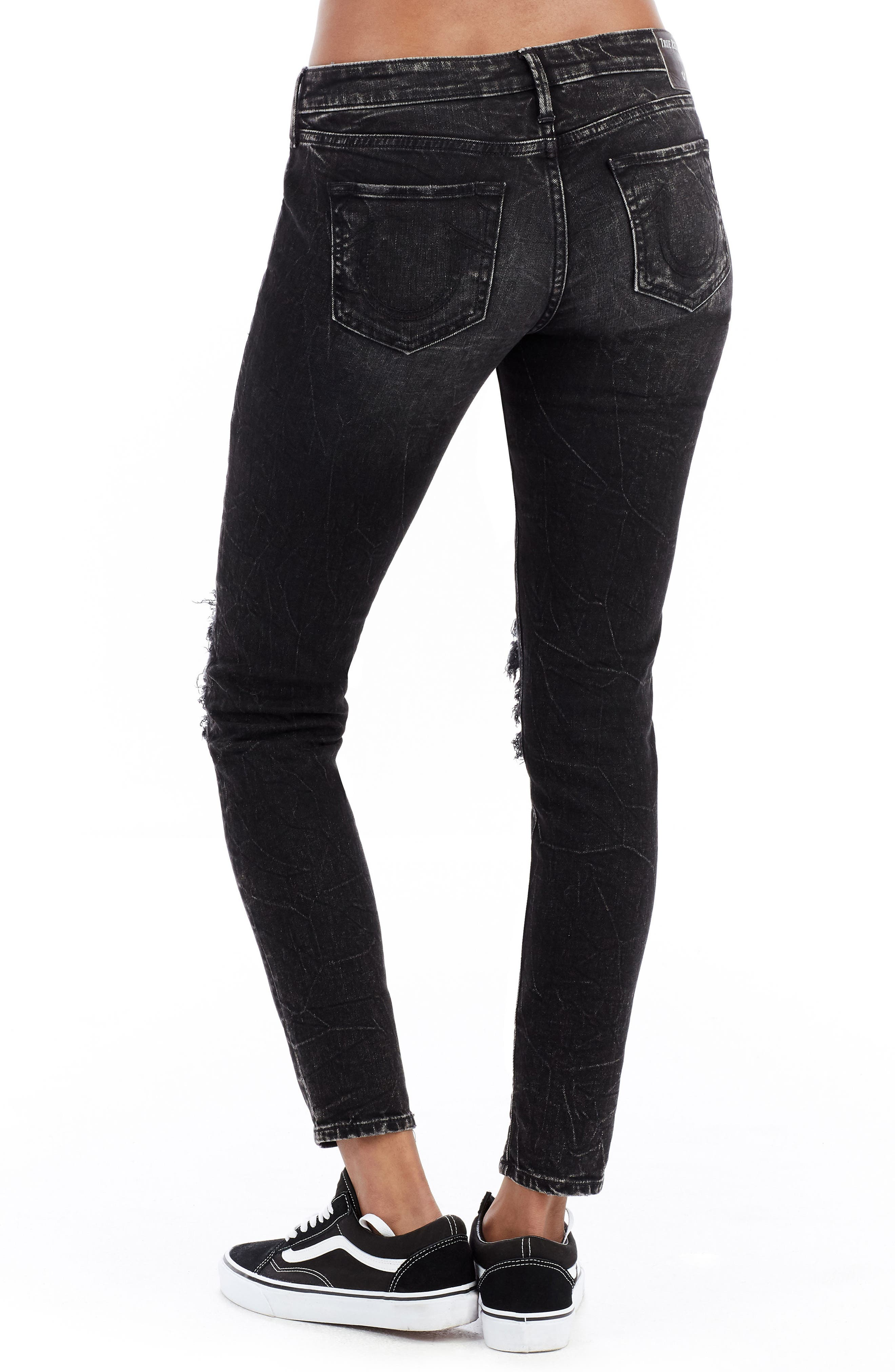 Halle Ankle Skinny Jeans,                             Alternate thumbnail 3, color,                             Raven Fever