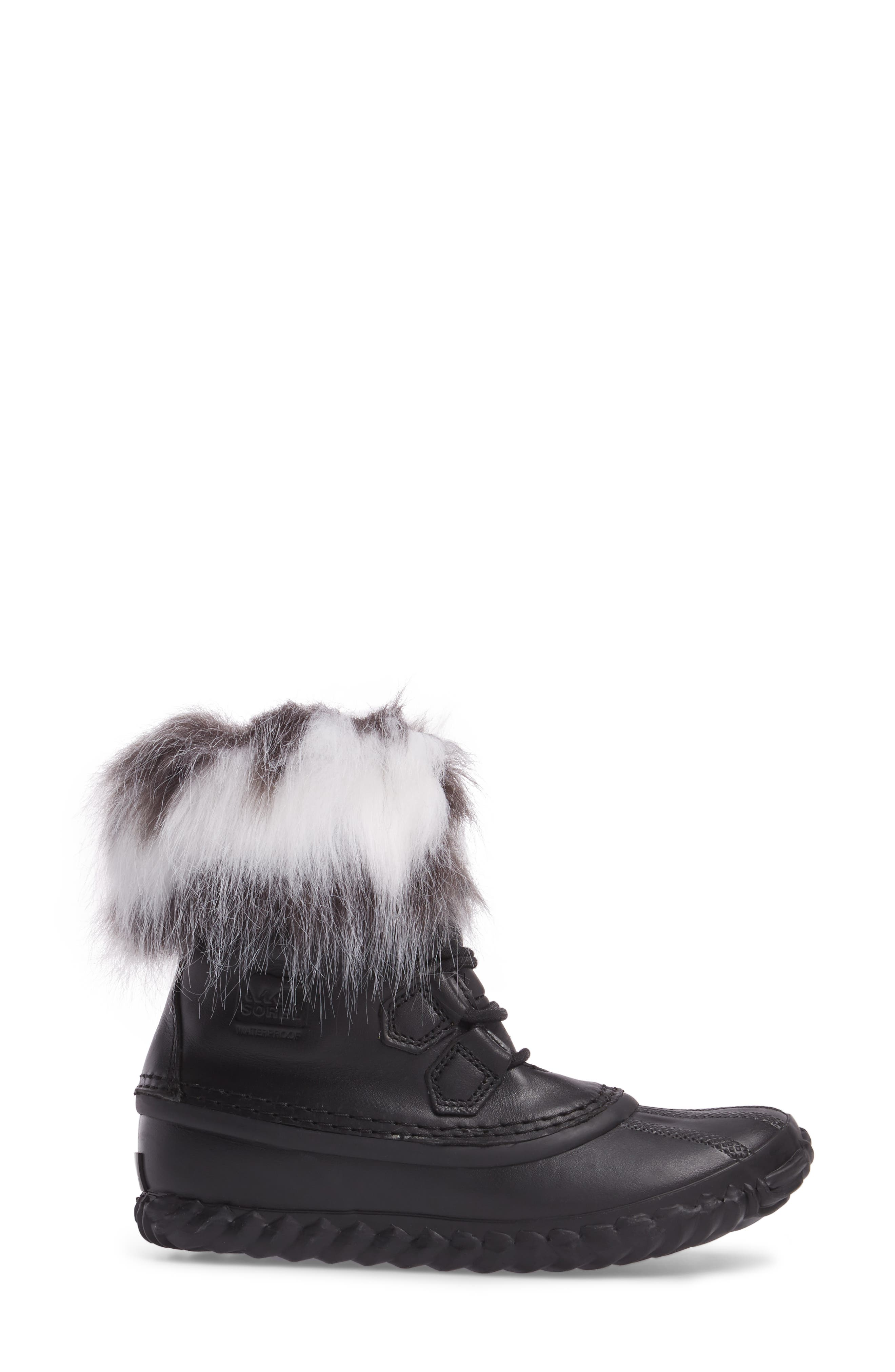 Out 'N About Waterproof Luxe Bootie,                             Alternate thumbnail 3, color,                             Black/ Sea Salt