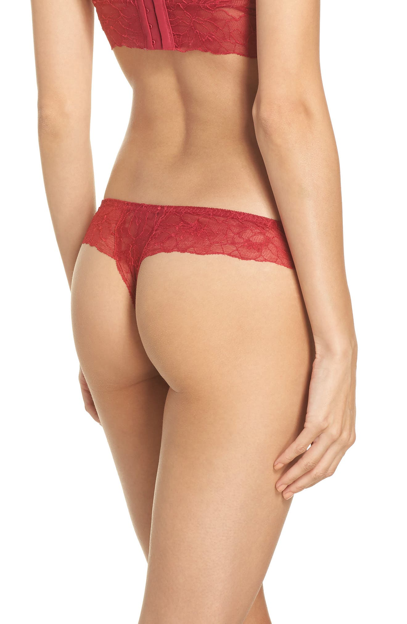 All Lace Glamour Lace Thong,                             Alternate thumbnail 2, color,                             Scarlet