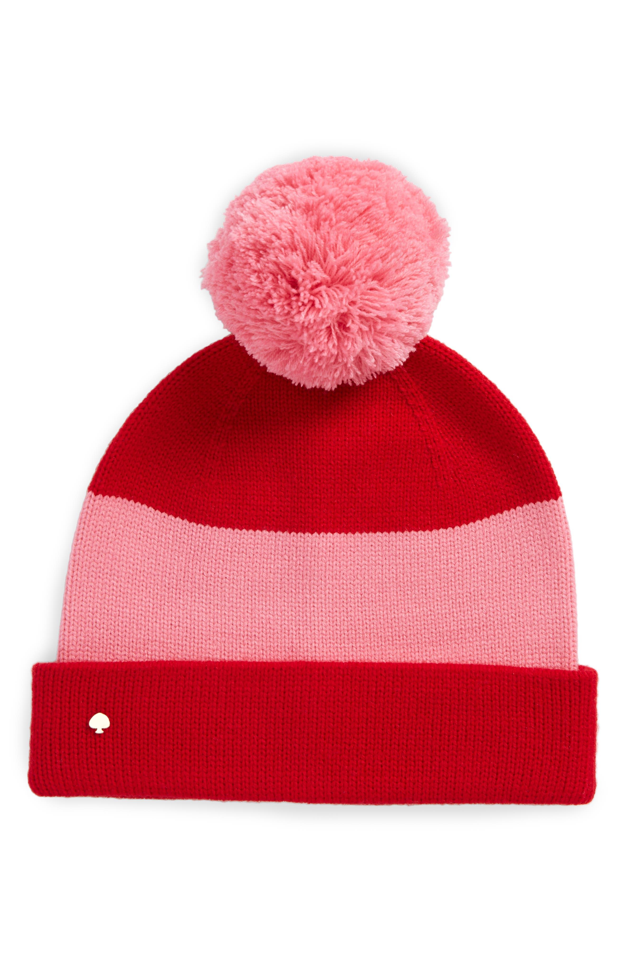 colorblock knit beanie,                             Main thumbnail 1, color,                             Fleur De Lis/Charm Red