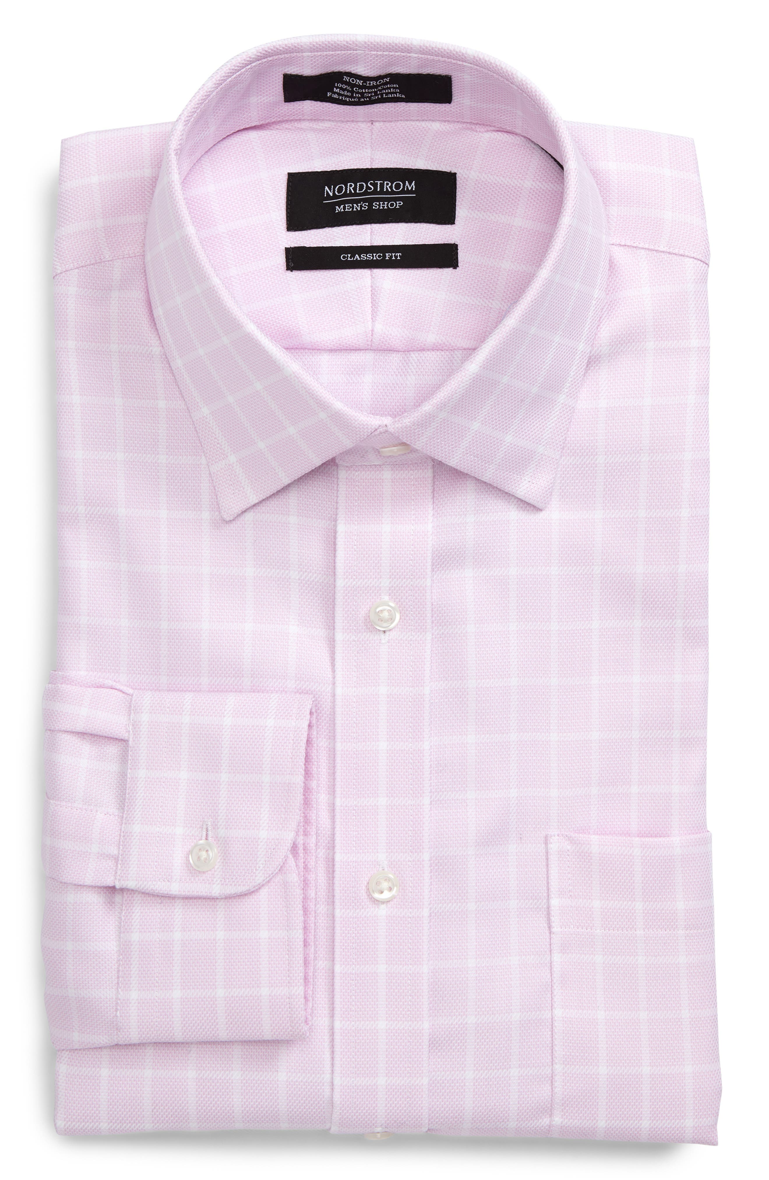Classic Fit Non-Iron Check Dress Shirt,                             Alternate thumbnail 6, color,                             Pink Lavender