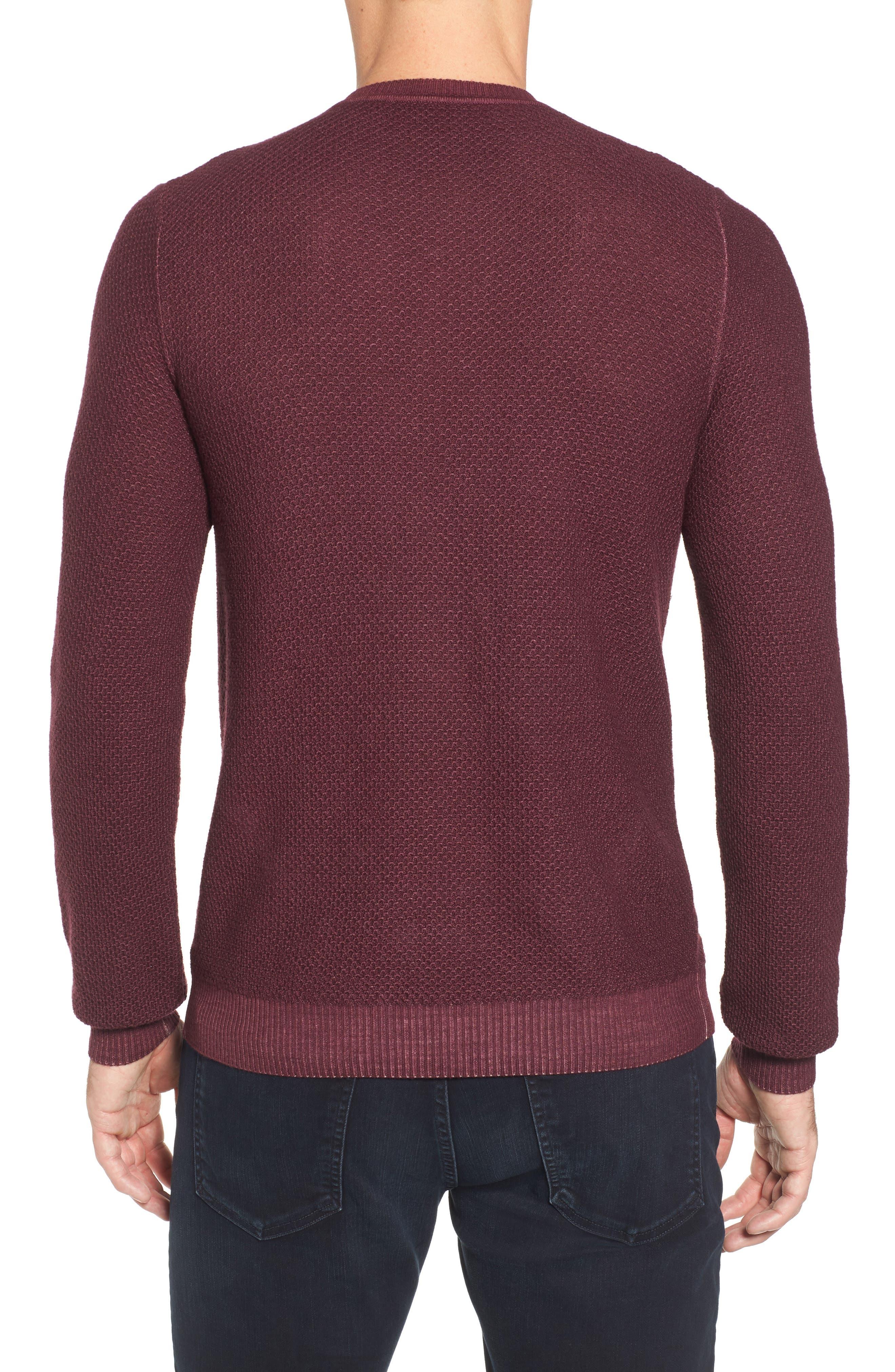 Honeycomb Merino Crewneck Sweater,                             Alternate thumbnail 2, color,                             Burgundy