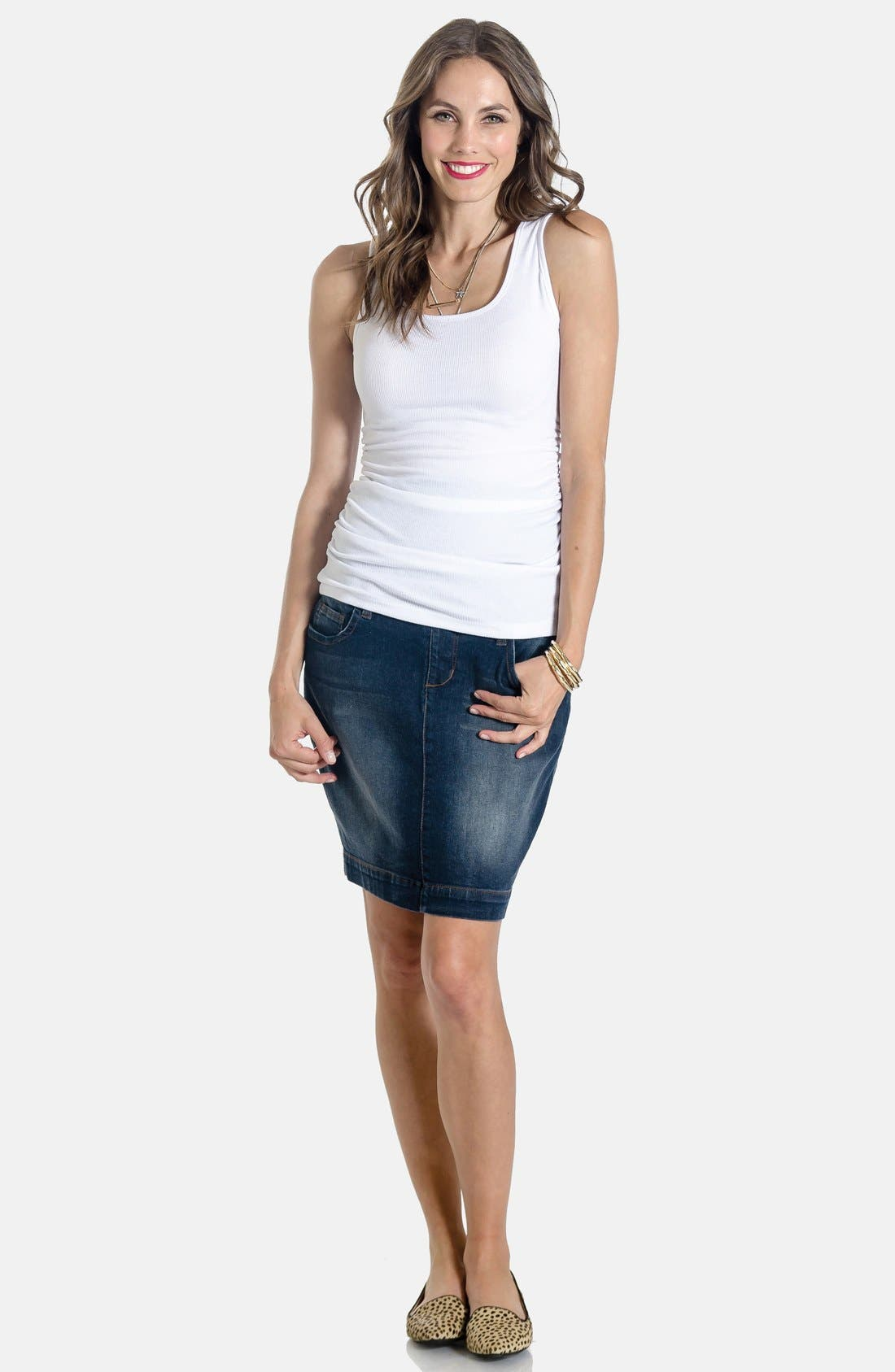 Alternate Image 3  - Lilac Clothing Denim Maternity Skirt