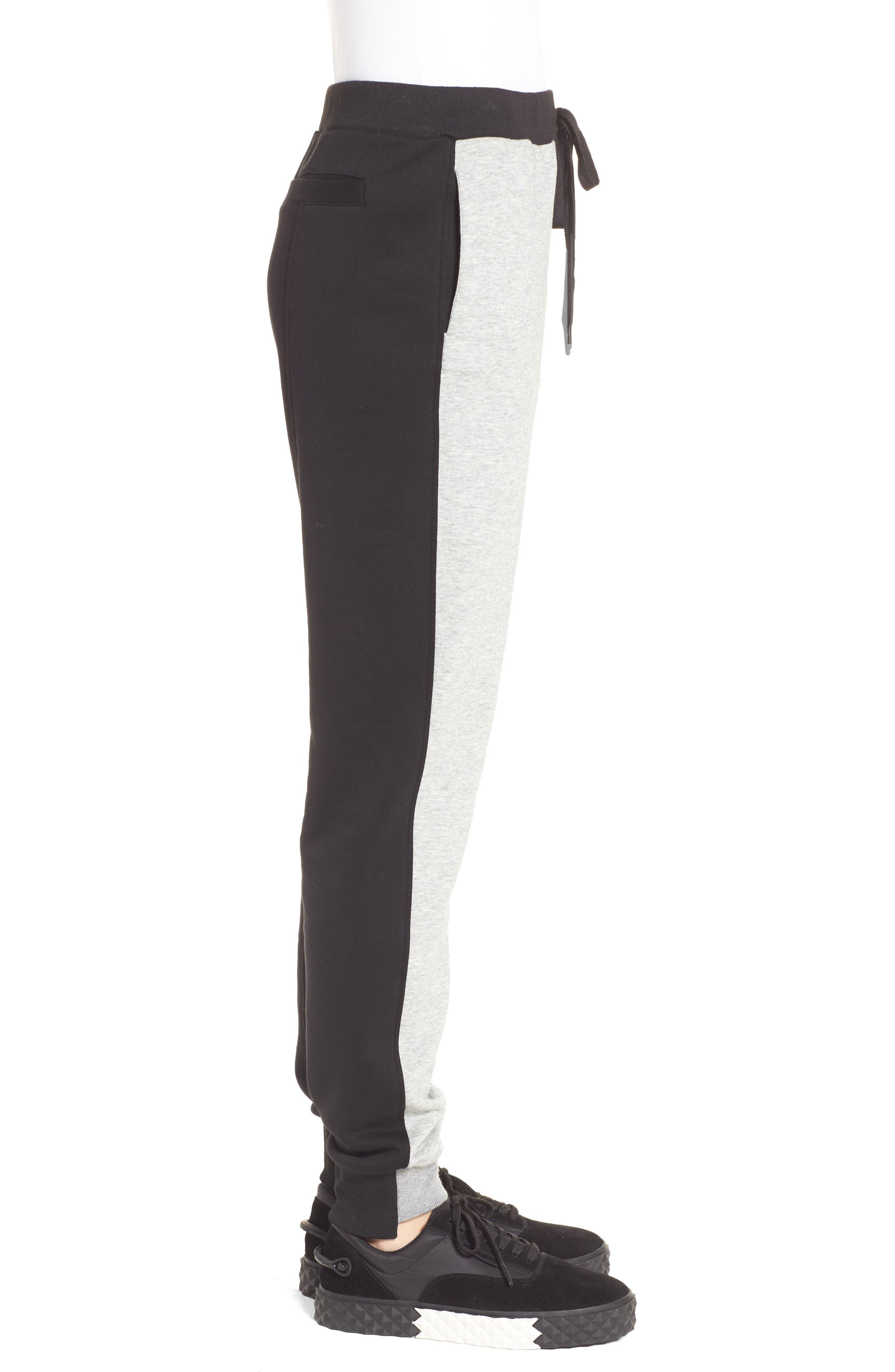 Paneled Sweatpants,                             Alternate thumbnail 3, color,                             Black/ Med. Heather Grey
