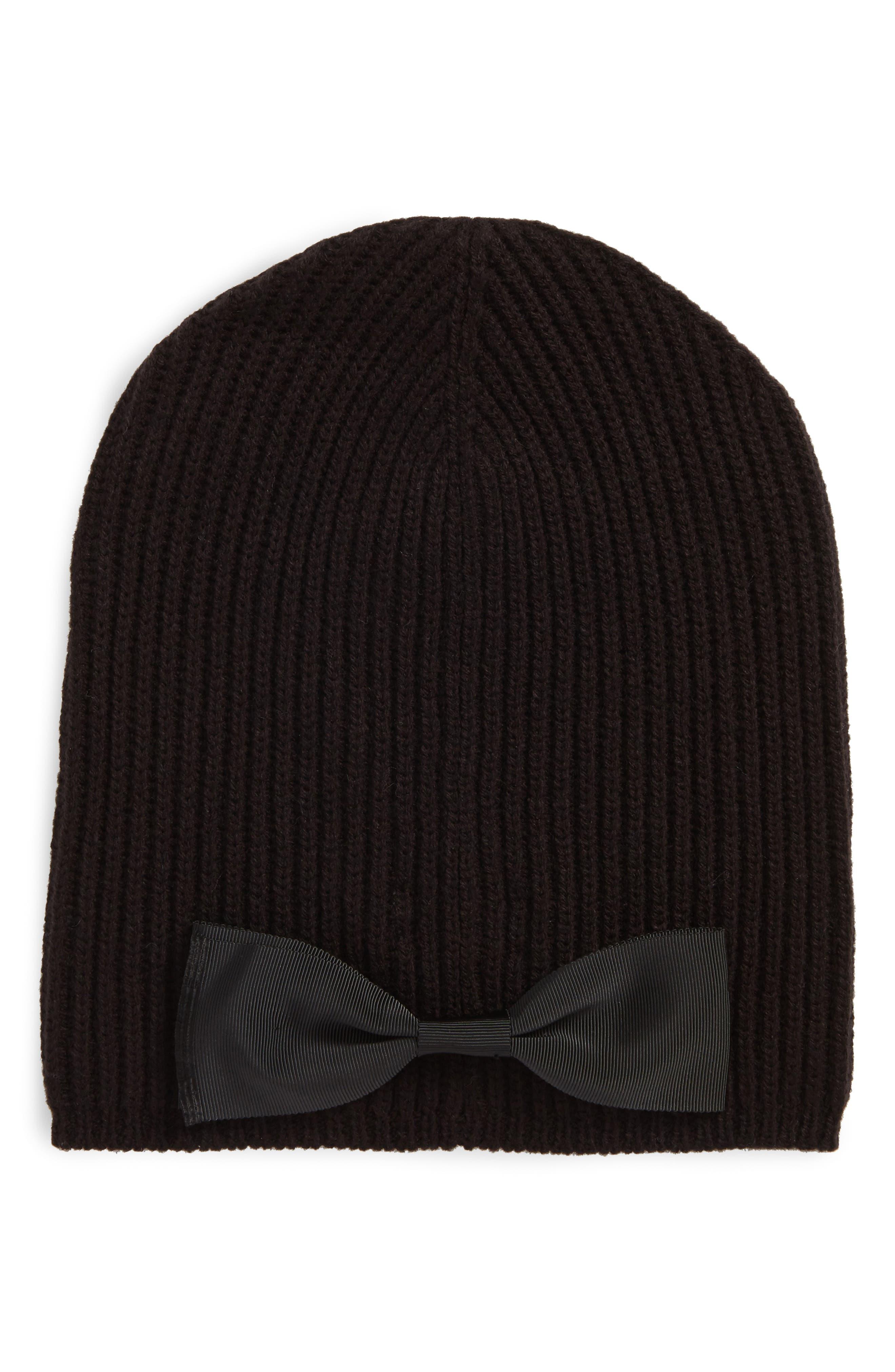 kate spade new york grosgrain bow knit beanie