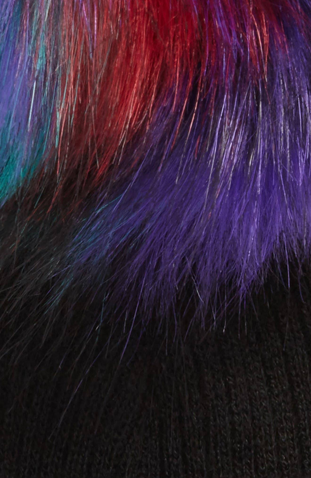 Faux Fur Pompom Beanie,                             Alternate thumbnail 2, color,                             Black Multi