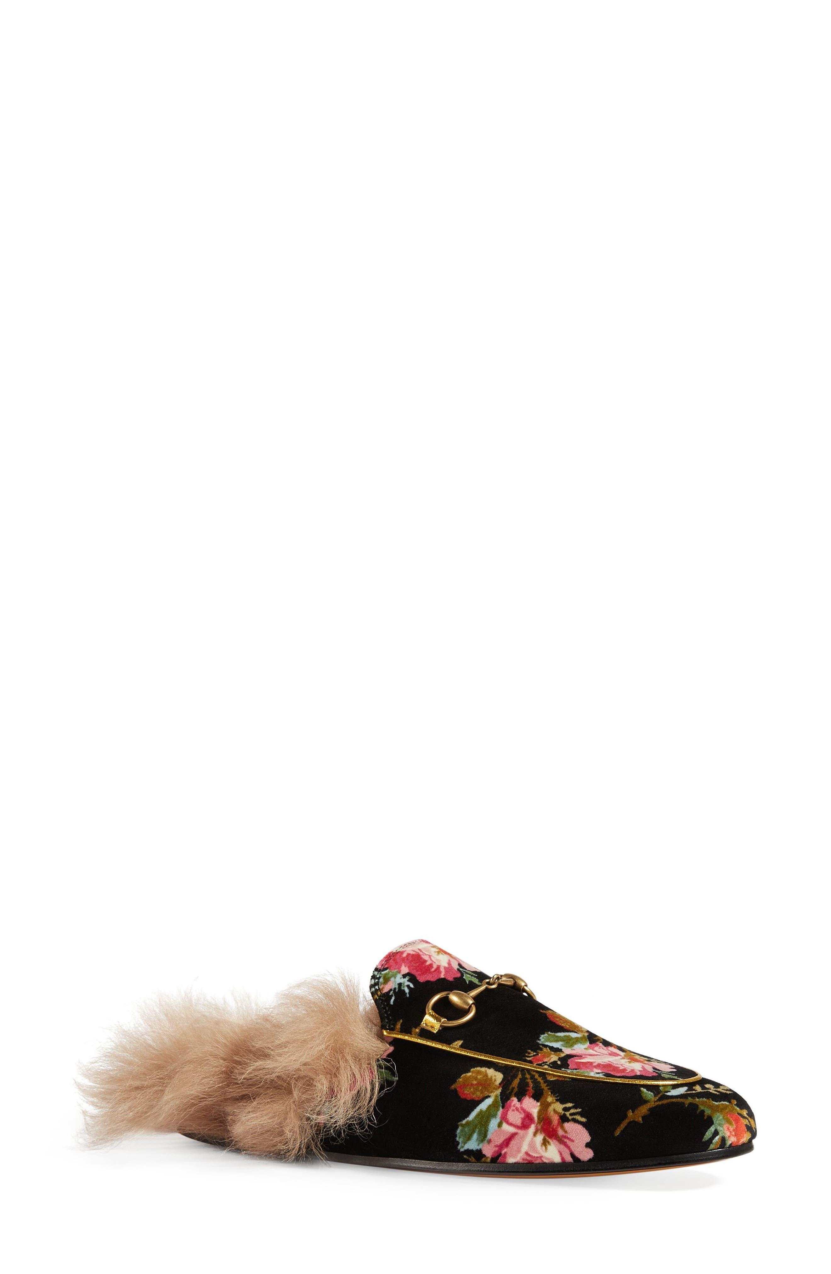 Main Image - Gucci Princetown Floral Genuine Shearling Trim Mule (Women)