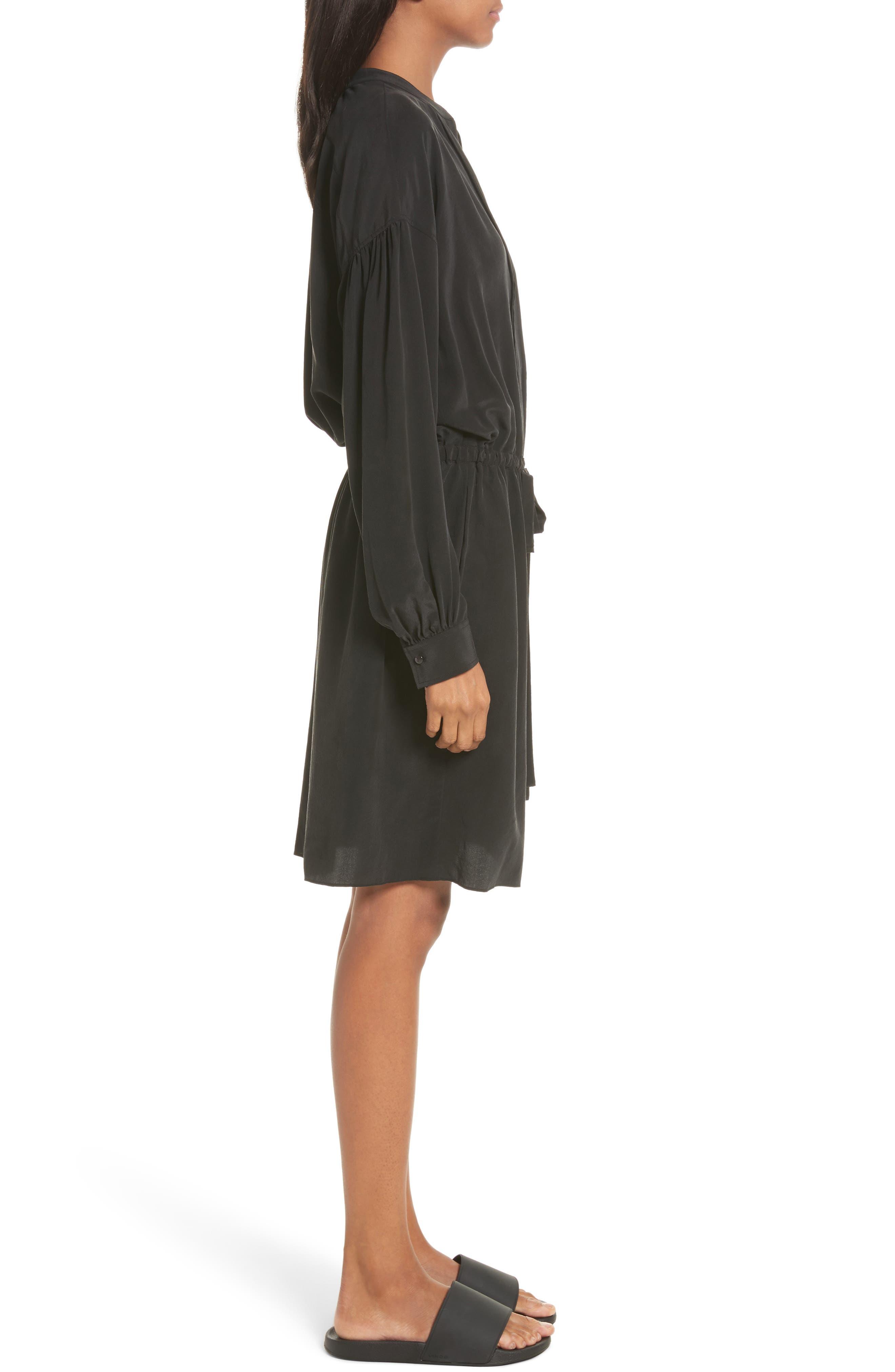 Shirred Sleeve Silk Dress,                             Alternate thumbnail 3, color,                             Black