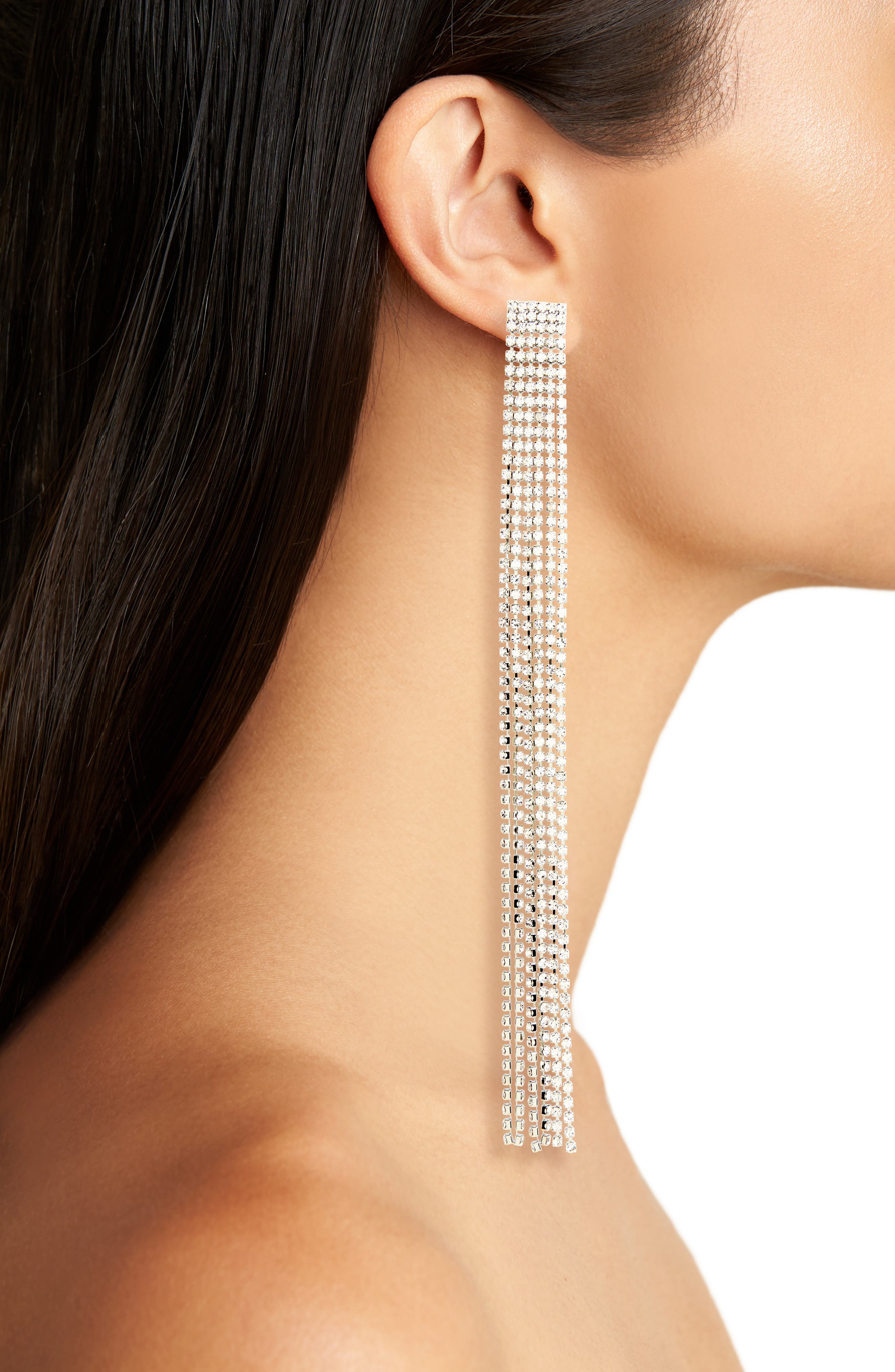 Long Crystal Tassel Earrings,                             Alternate thumbnail 2, color,                             Silver