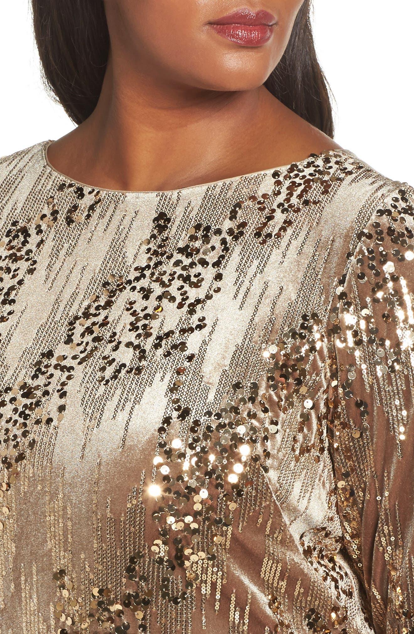 Sequin Sheath Dress,                             Alternate thumbnail 4, color,                             Tan