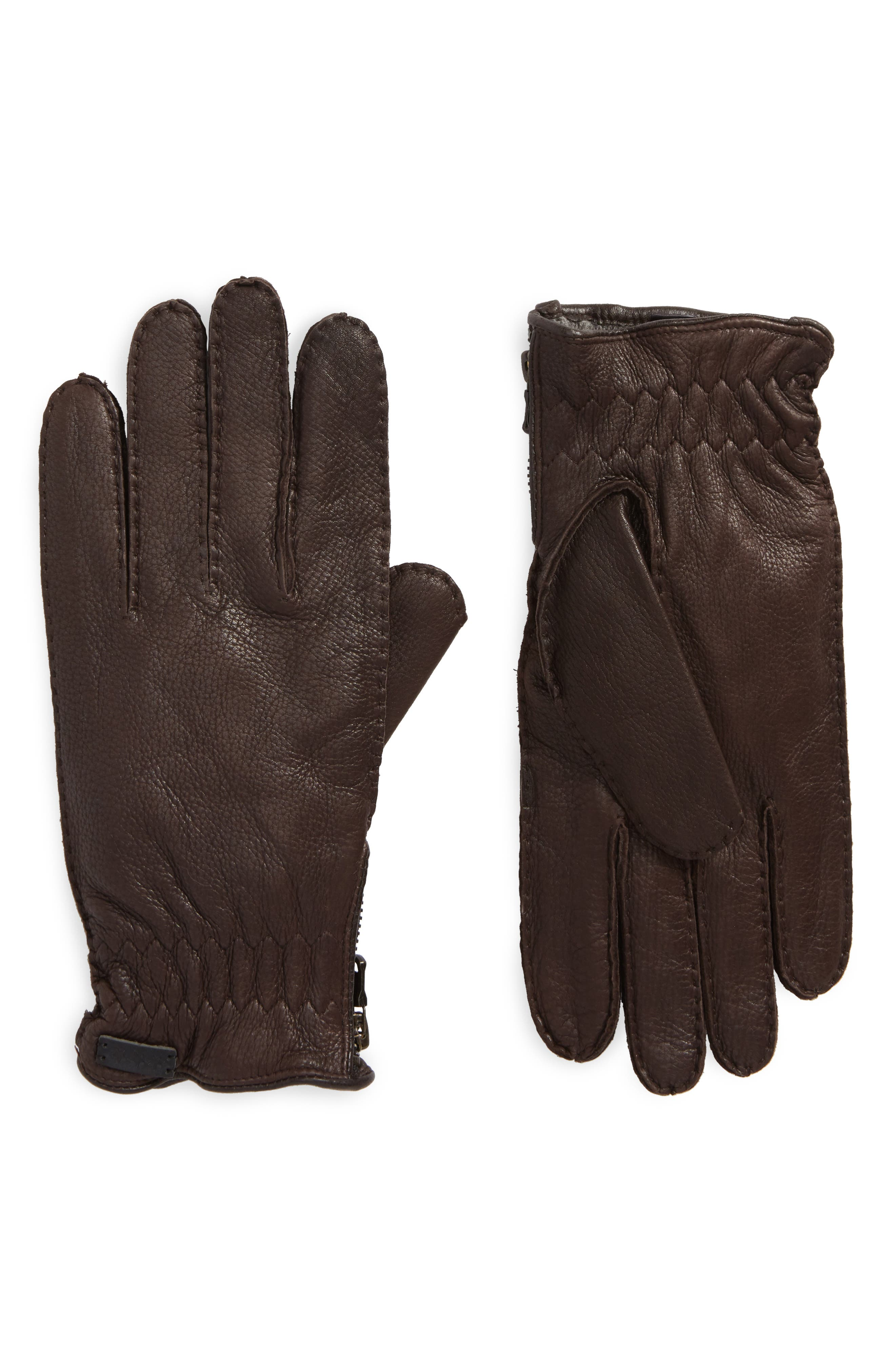 Deerskin Leather Gloves,                         Main,                         color, Chocolate