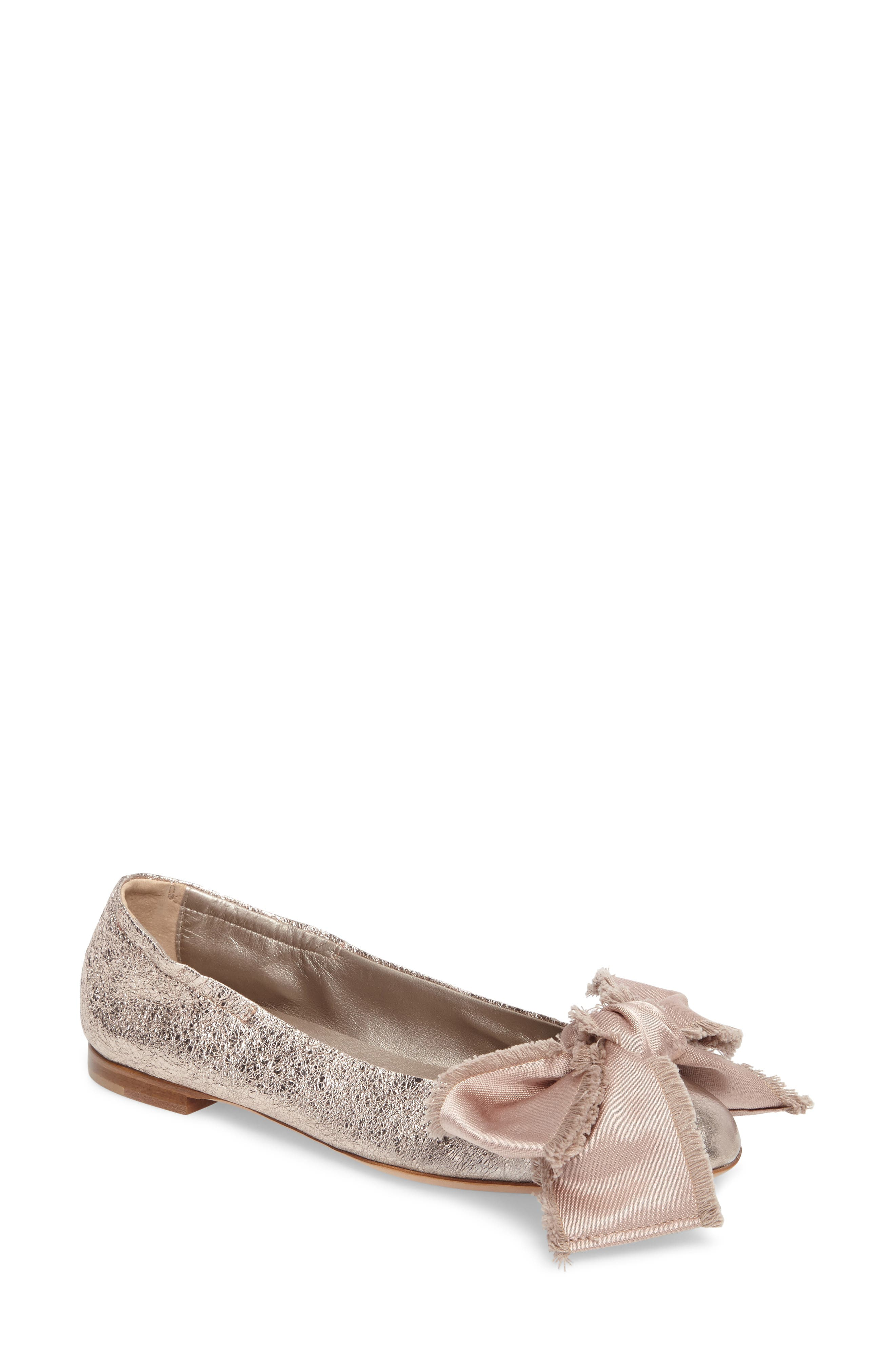 Satin Bow Ballet Flat,                             Main thumbnail 1, color,                             Pink Leather