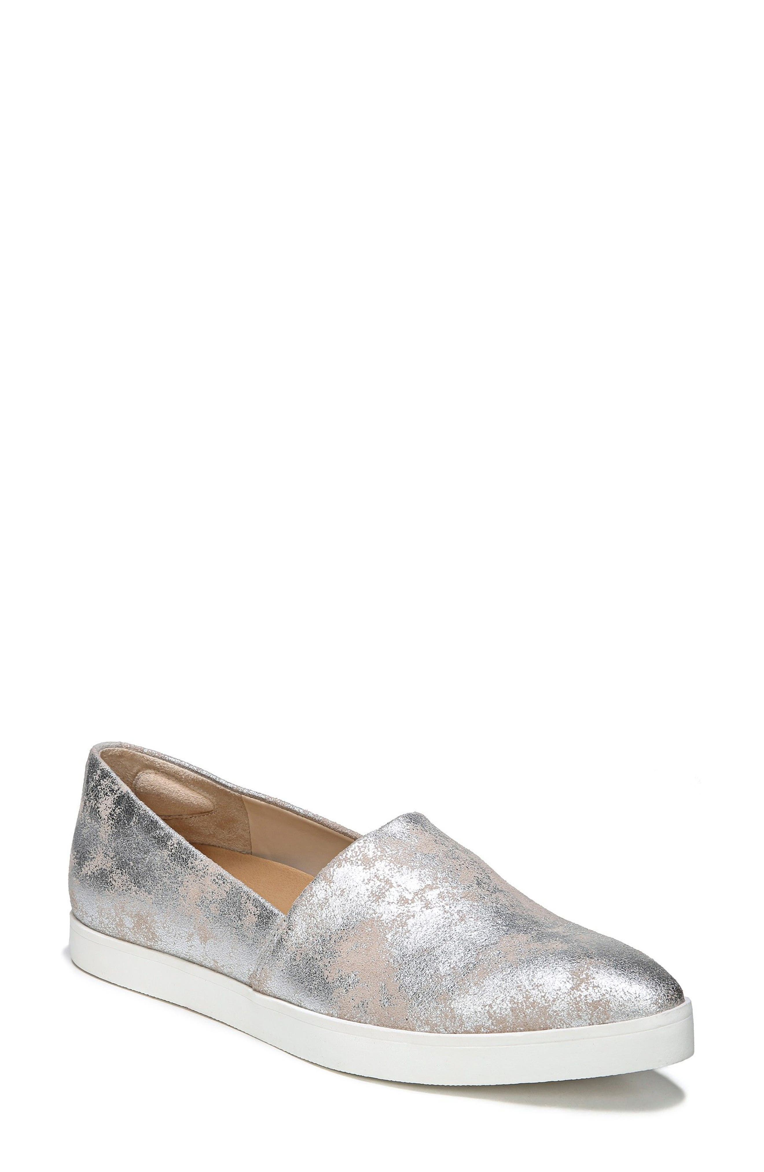 'Vienna' Slip-on Sneaker,                             Main thumbnail 1, color,                             Silver Leather