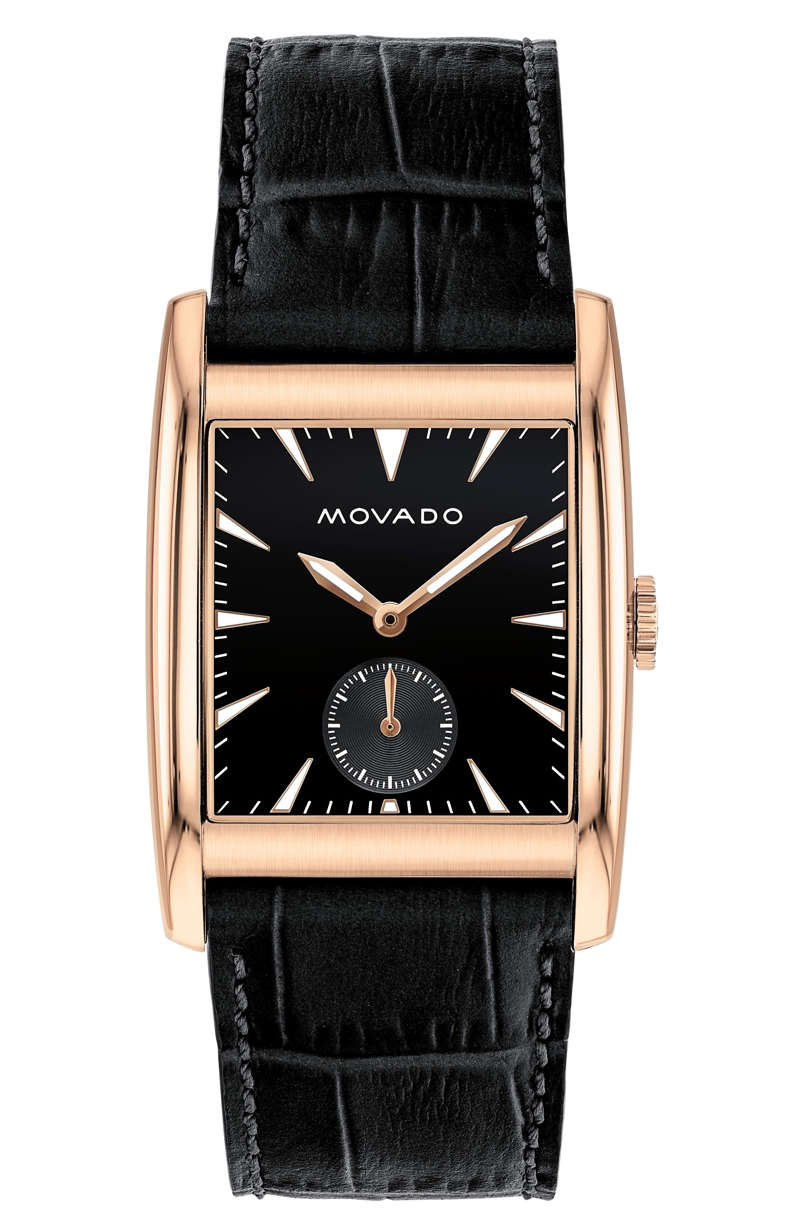 Heritage Leather Strap Watch, 41mm,                         Main,                         color, Chocolate/ Black/ Rose Gold