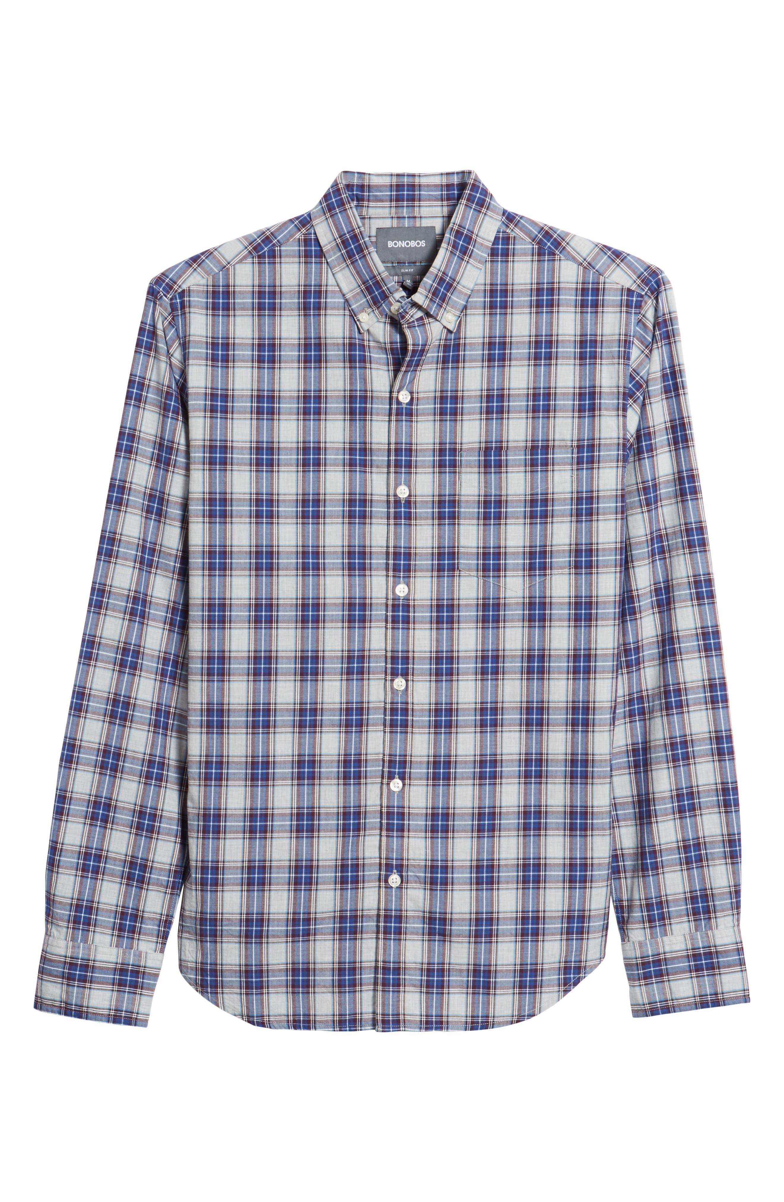 Slim Fit Washed Plaid Sport Shirt,                             Alternate thumbnail 6, color,                             Fallen Leaf Plaid