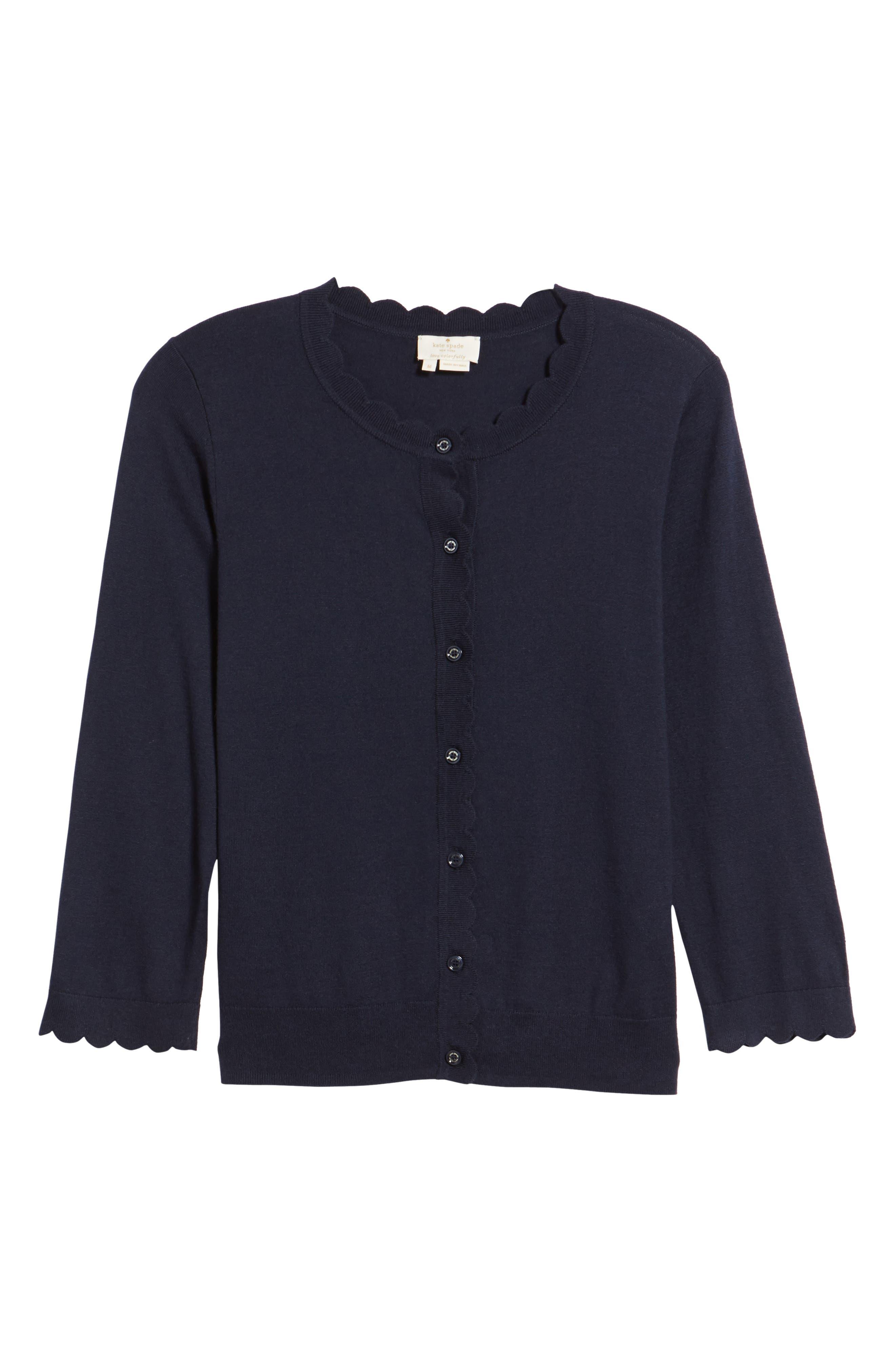 scallop silk blend cardigan,                         Main,                         color, Rich Navy