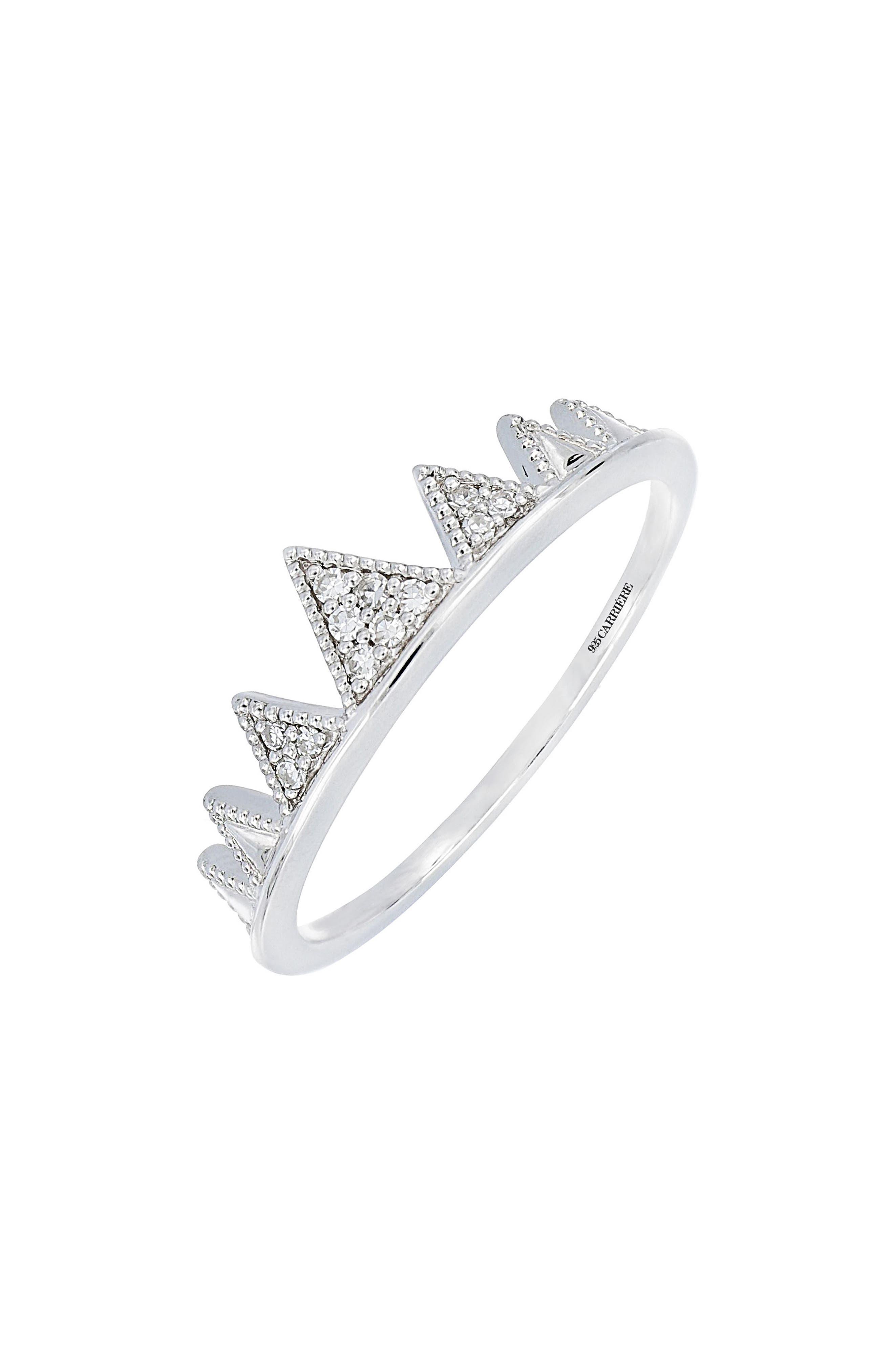 Carrière Diamond Crown Ring,                         Main,                         color, Silver/ Diamond