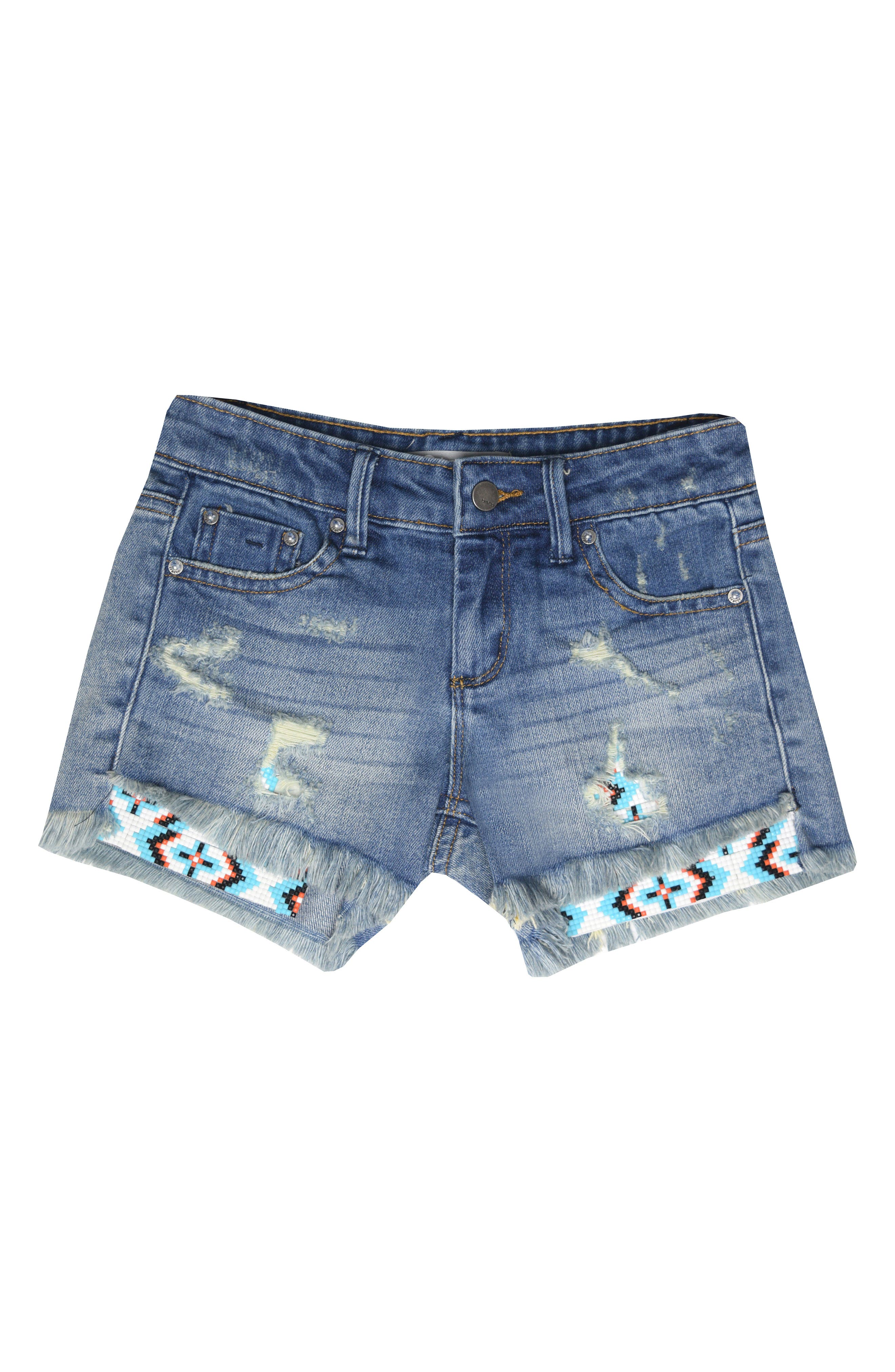 Beaded Distressed Denim Shorts,                             Main thumbnail 1, color,                             Indigo