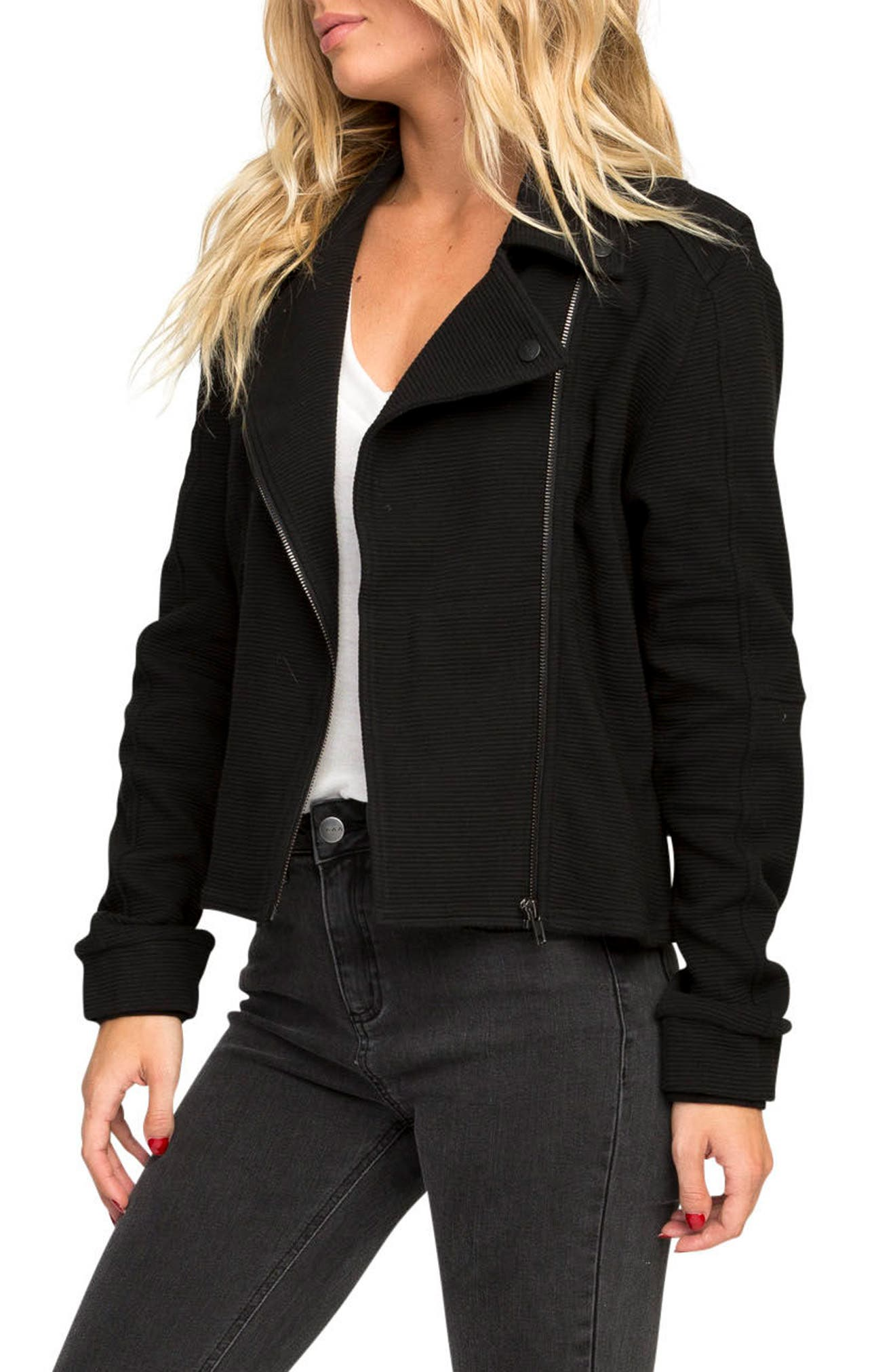 Reckoner Cotton Moto Jacket,                             Alternate thumbnail 3, color,                             Black