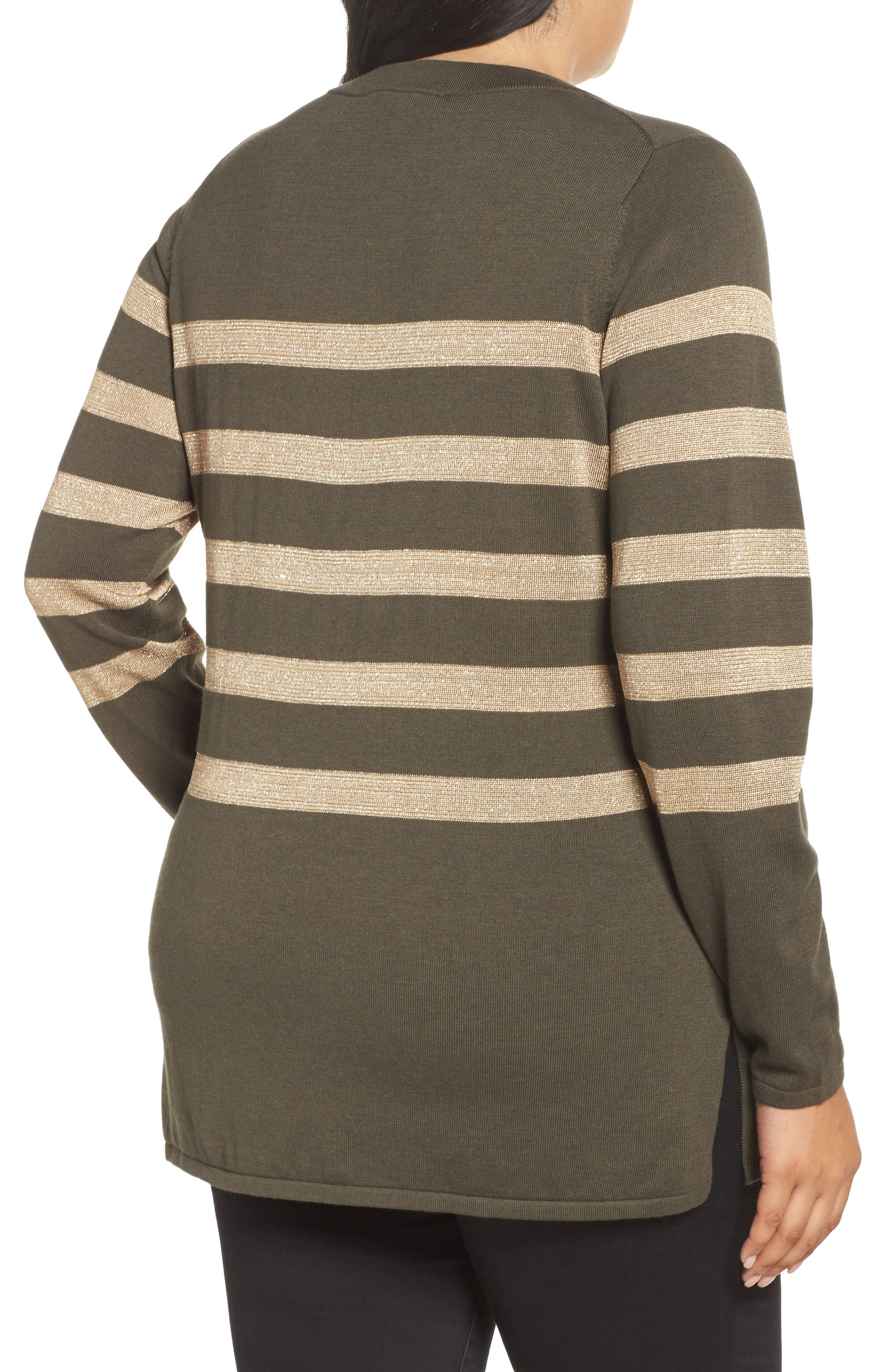 Chain Lace-Up Stripe Sweater,                             Alternate thumbnail 2, color,                             Green