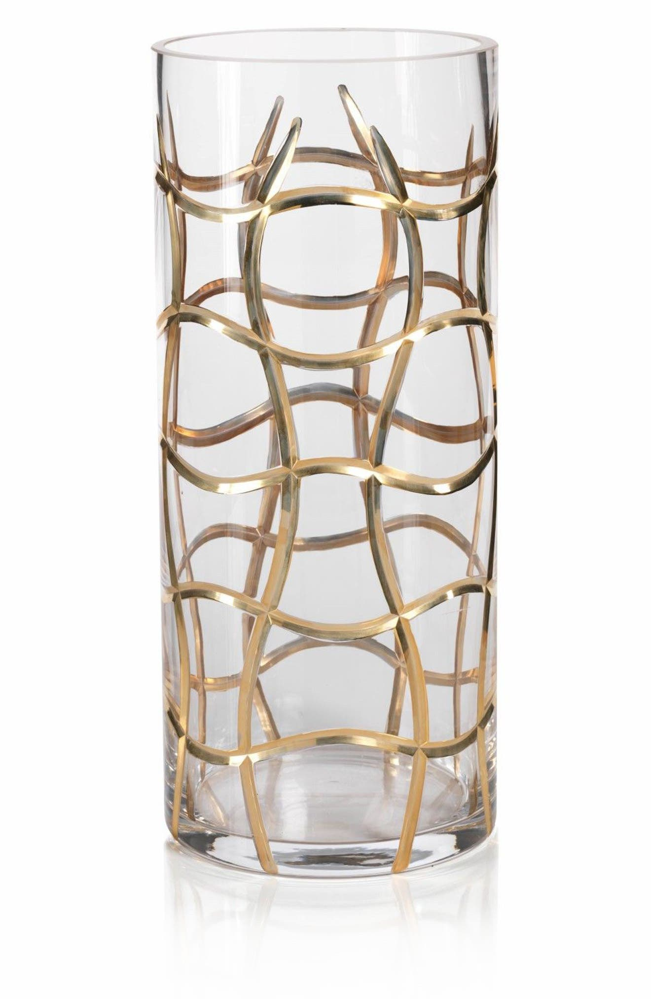 Large Groove Hurricane Candleholder,                             Main thumbnail 1, color,                             Clear/ Gold/ Metallic