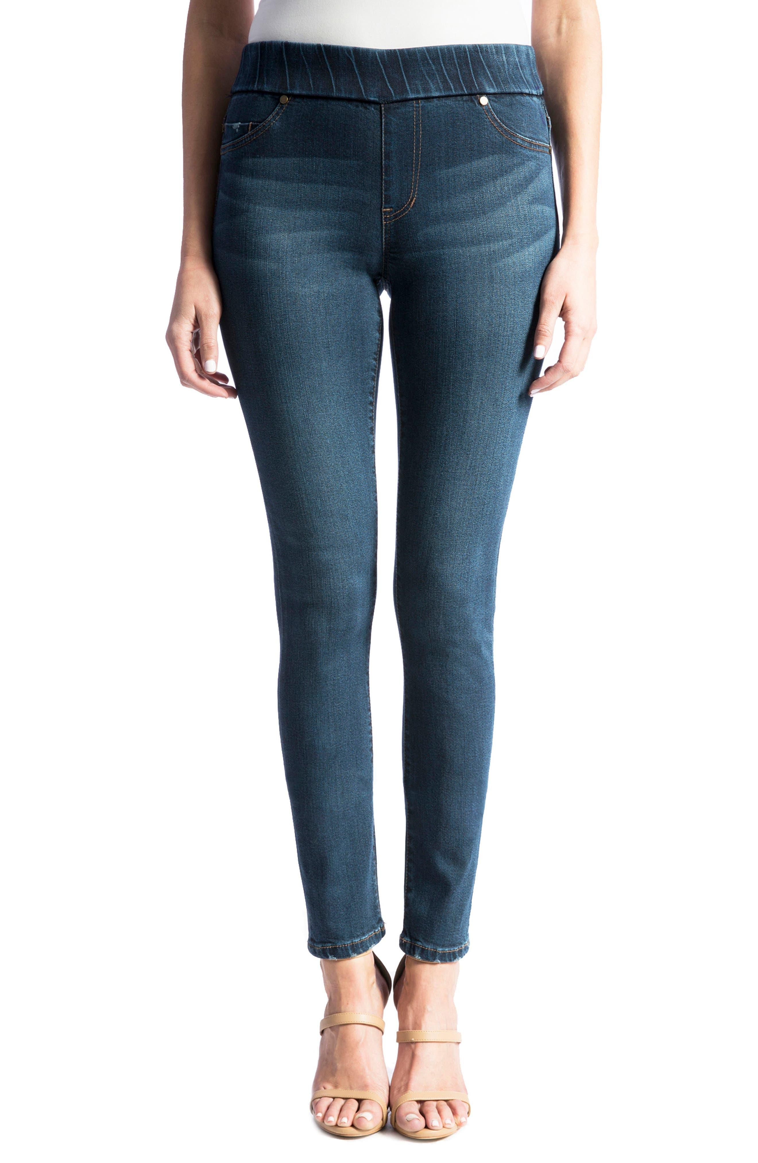 Sienna Mid Rise Soft Stretch Denim Leggings,                         Main,                         color, Petrol Wash