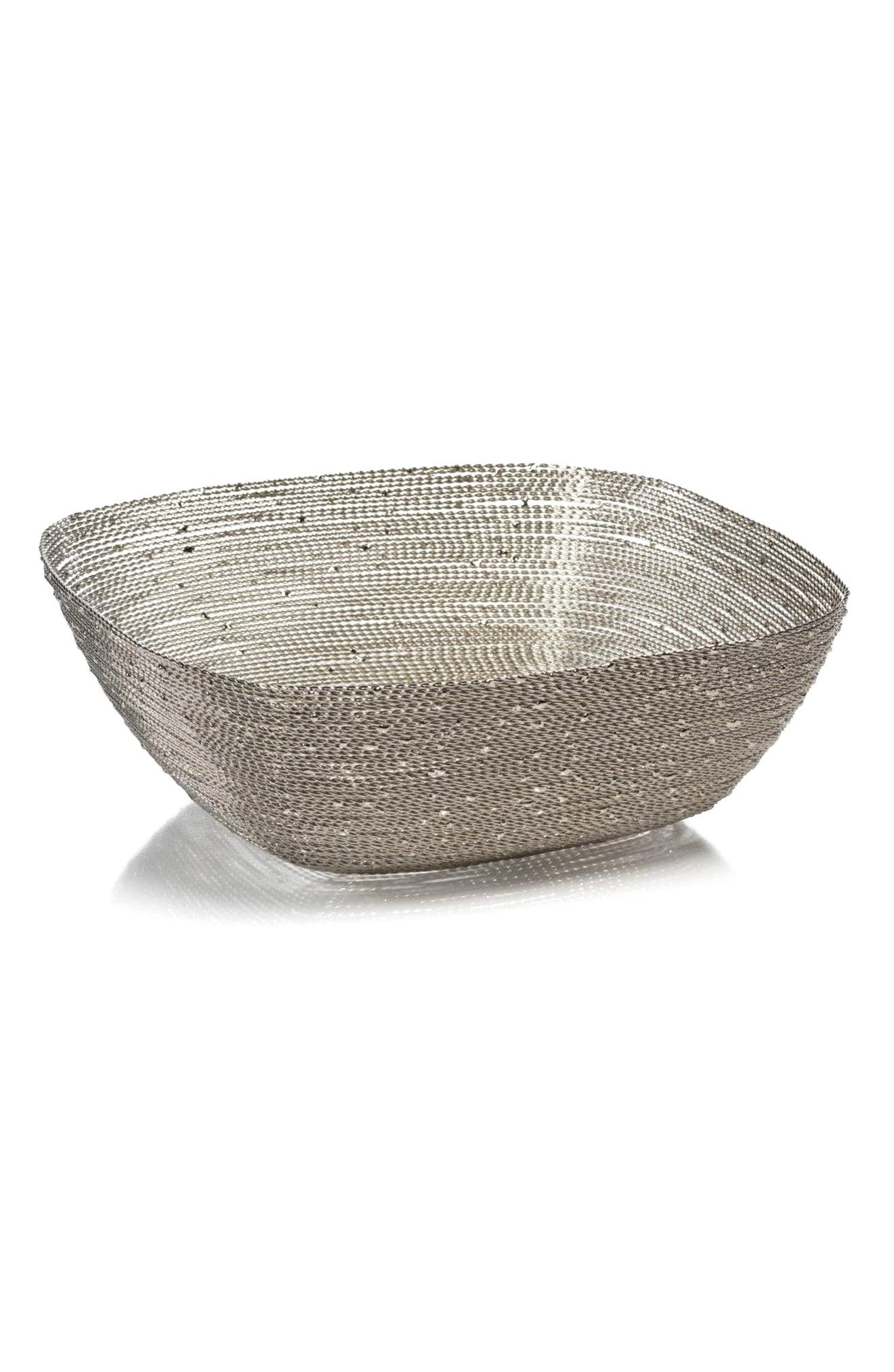 Zulu Large Square Woven Wire Basket,                             Main thumbnail 1, color,                             Silver