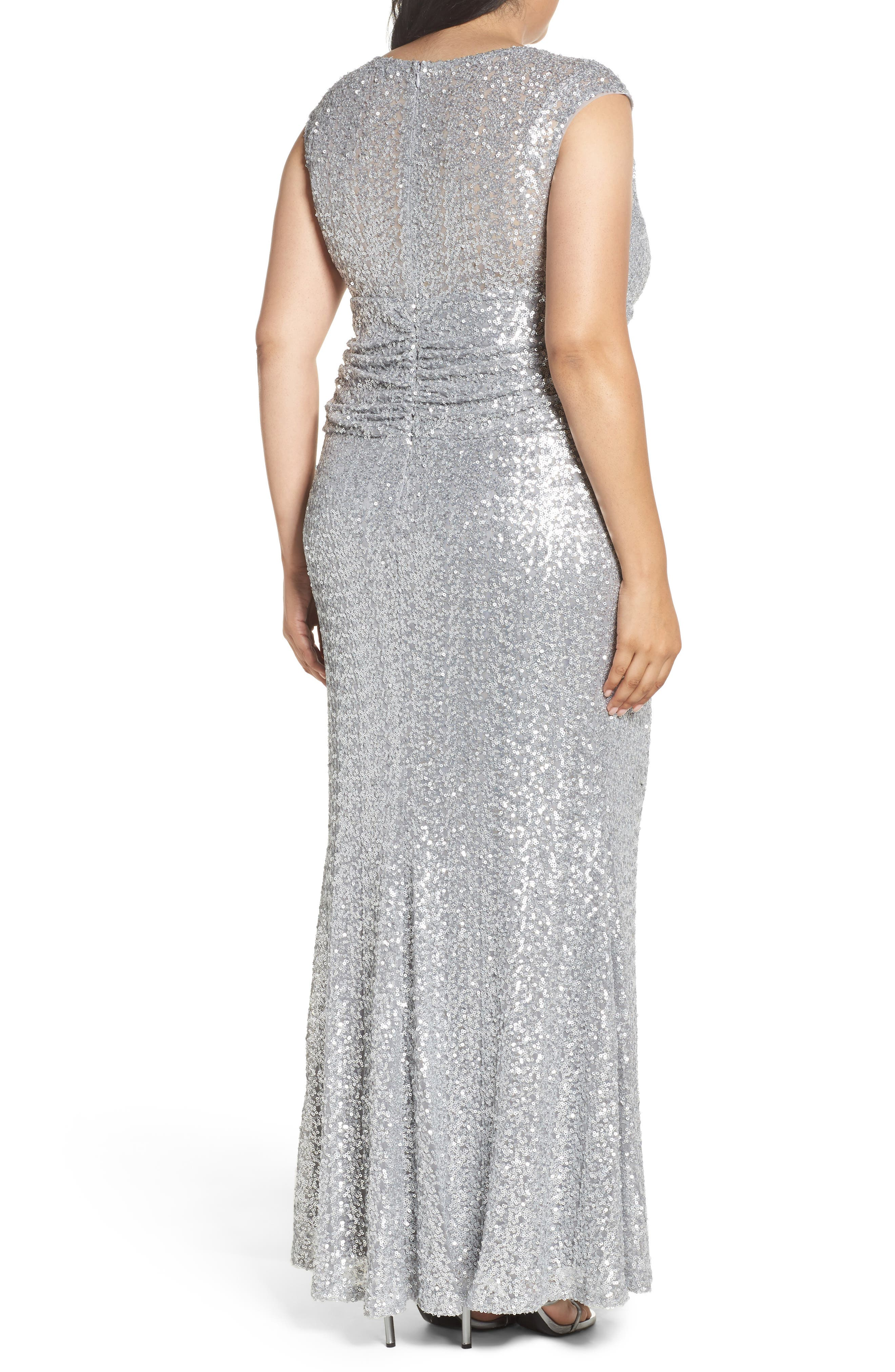 Alternate Image 2  - Marina Cutout Sequin Lace Gown (Plus Size)
