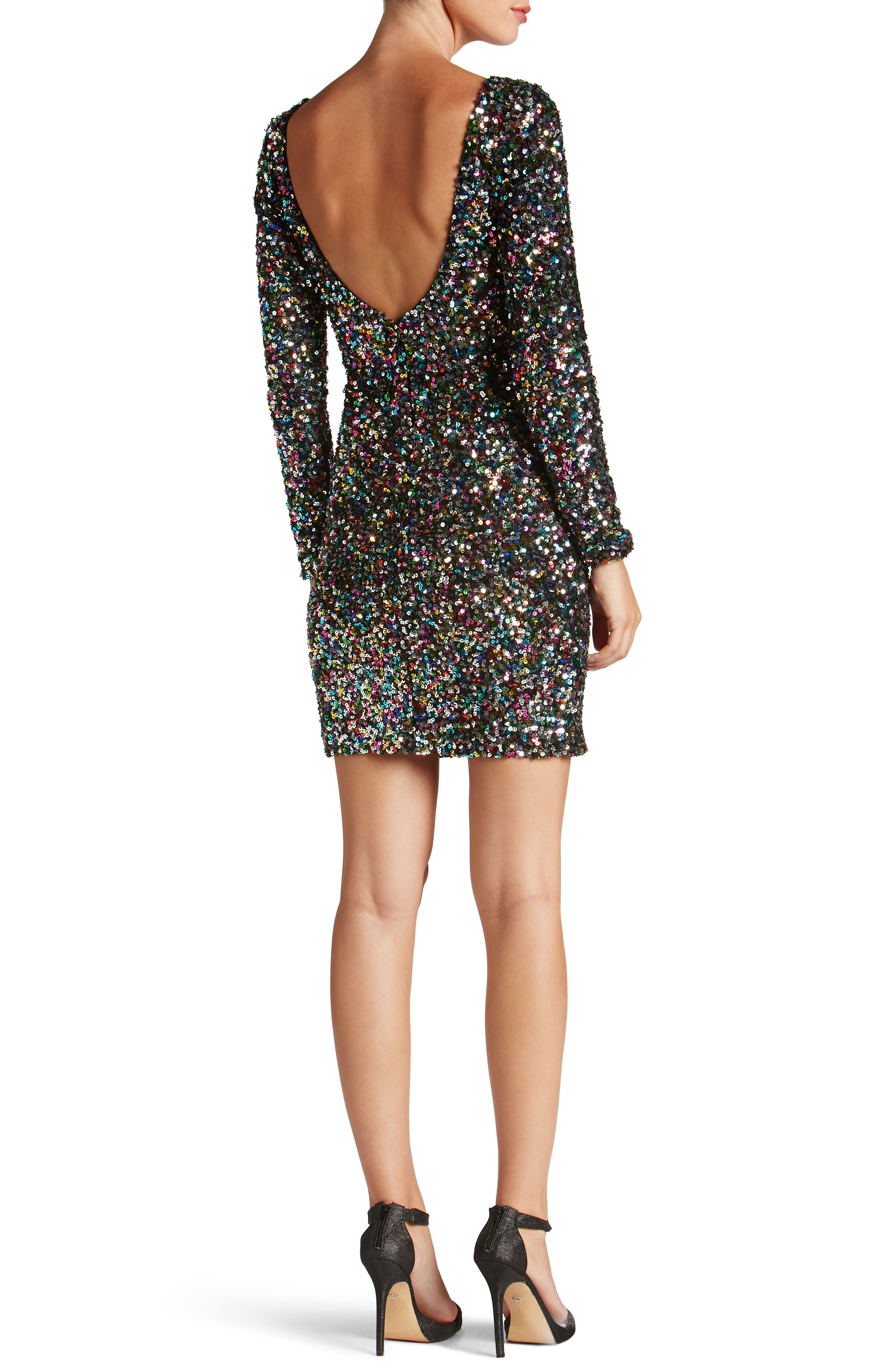 Lola Ombré Sequin Body-Con Dress,                             Alternate thumbnail 2, color,                             Confetti
